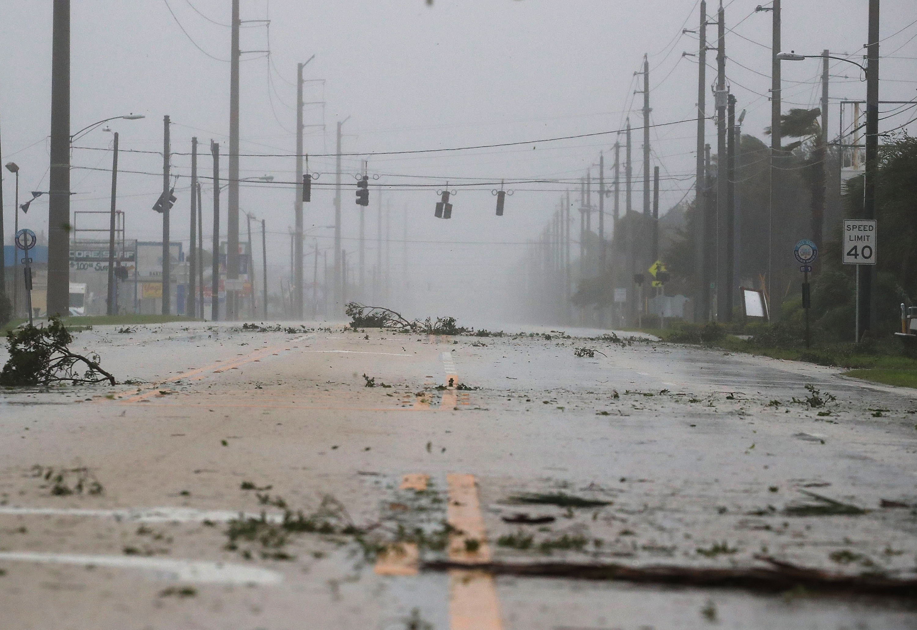 COCOA BEACH, FL - OCTOBER 07: Lights are out on highway A1A from the winds of Hurricane Matthew, October 7, 2016 on Cocoa Beach, Florida. Hurricane Matthew passed by offshore as a catagory 3 hurricane bringing heavy winds and minor flooding.  (Photo by Mark Wilson/Getty Images)