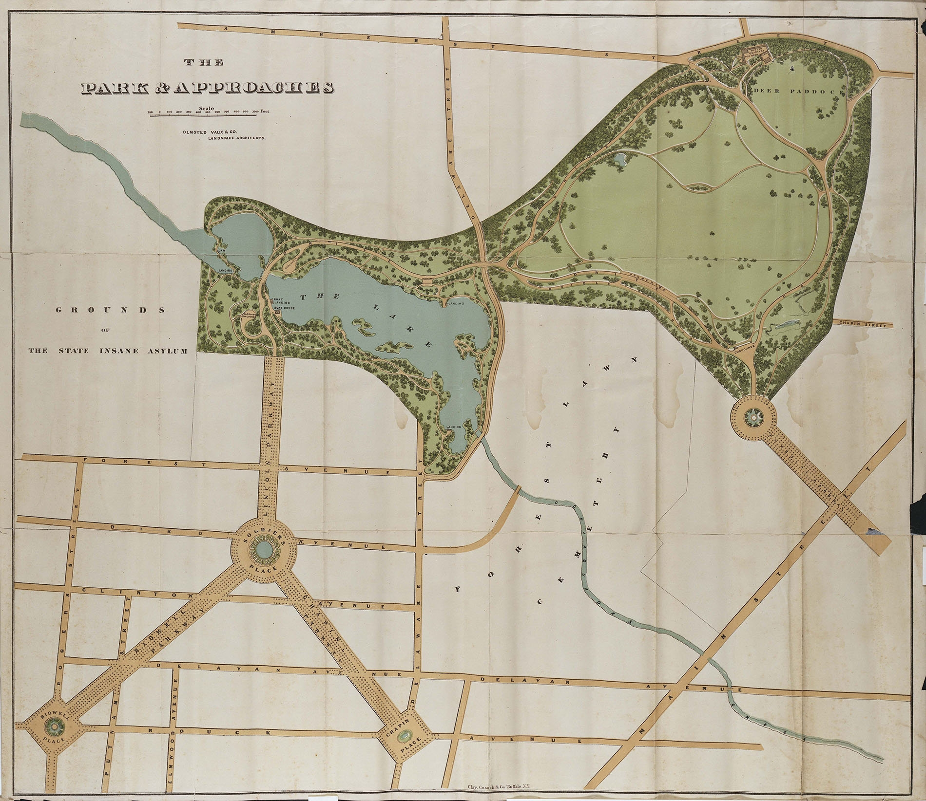 Frederick Law Olmsted's original rendering of Delaware Park.