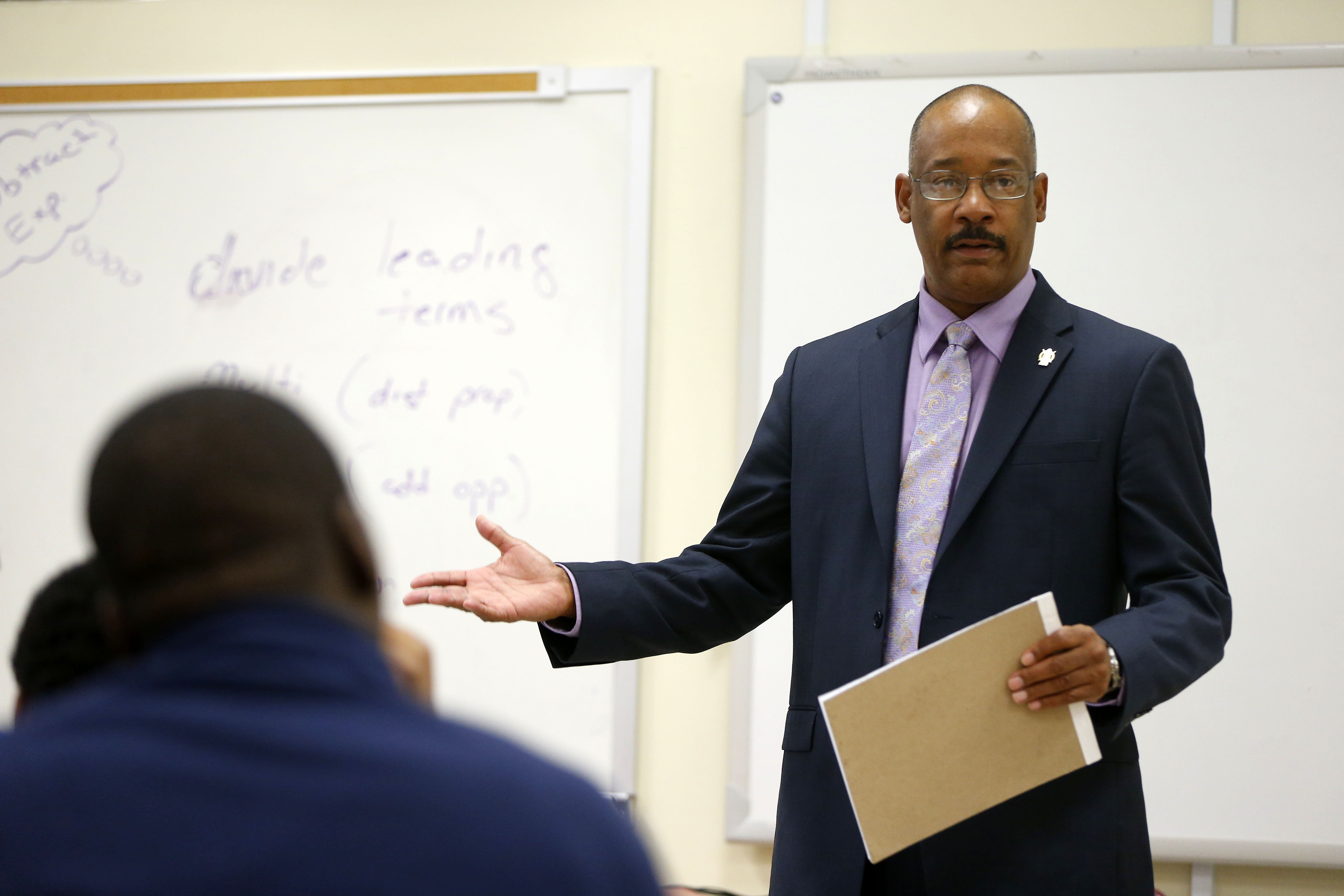 "Buffalo attorney John Elmore gives a talk about ""What to do when stopped by the police"" to students at a forum at Bennett High School. (Mark Mulville/Buffalo News)"