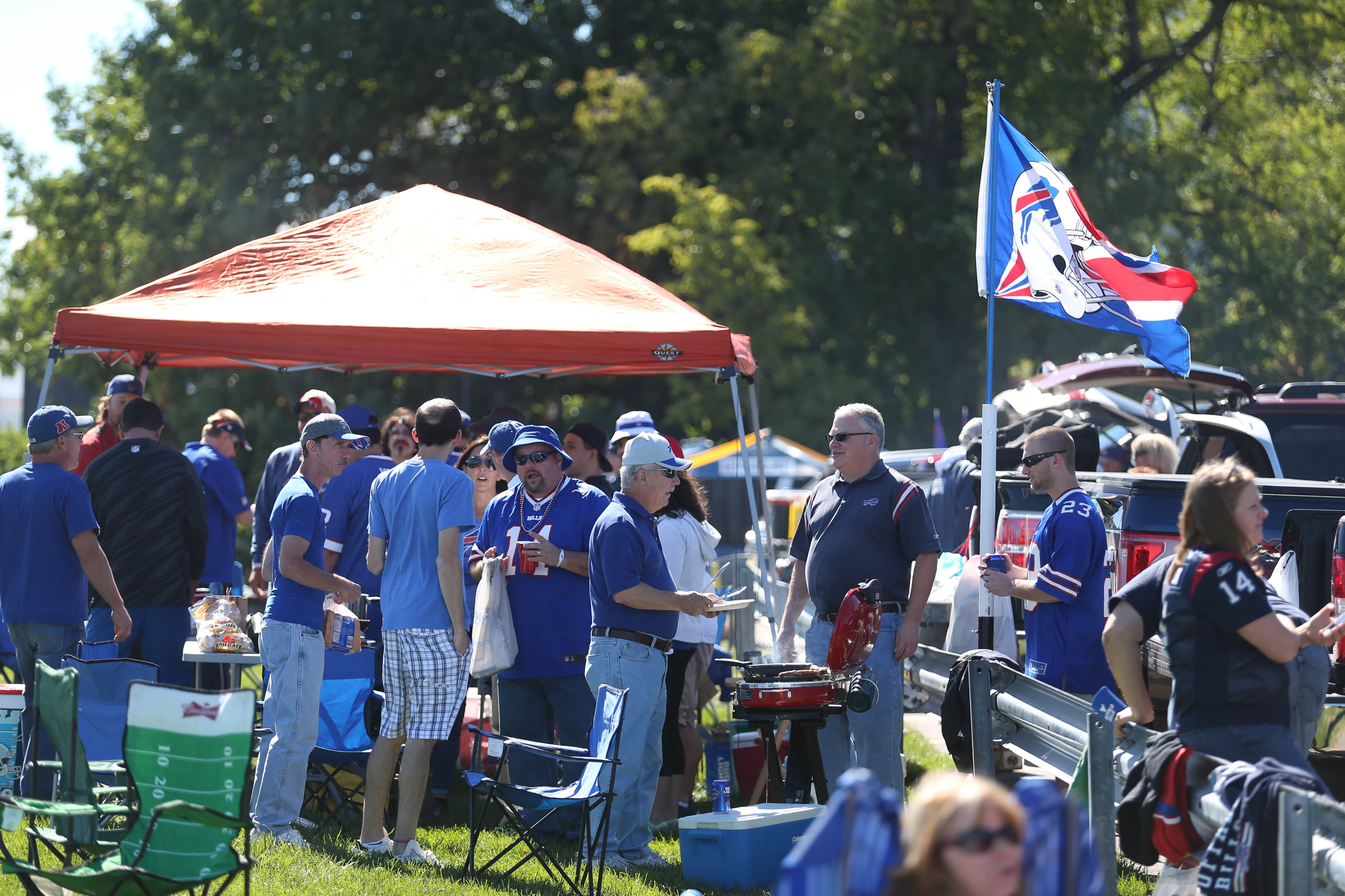 Tailgating before a Buffalo Bills game is an integral part of game-day fun around New Era Field, in Orchard Park.  Tailgaters bring an array of food and drink and visit with their neighbors prior to game time, Sunday, Sept. 25, 2016.  (Sharon Cantillon/Buffalo News)