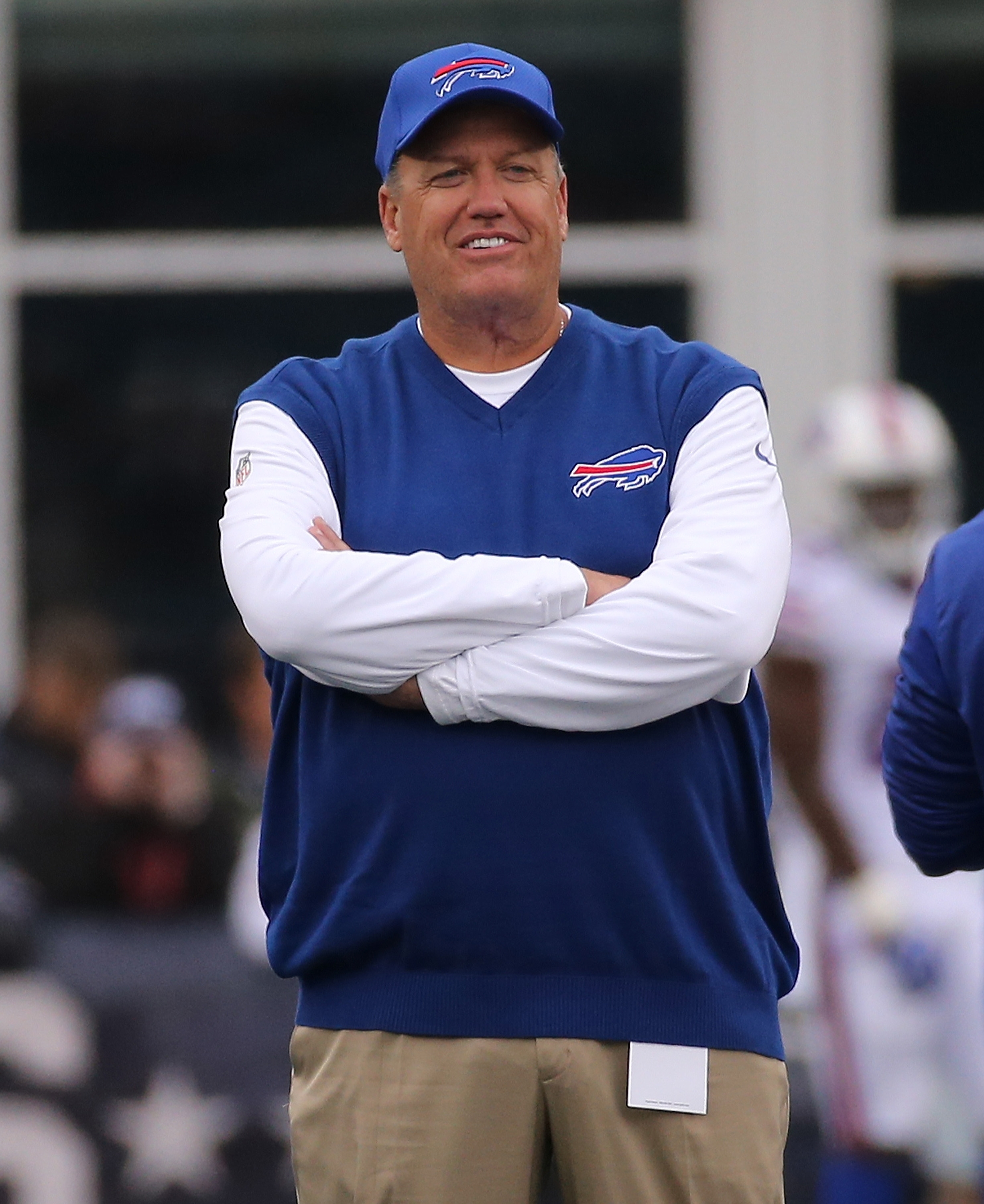 Rex Ryan of the Buffalo Bills looks on prior to the game.