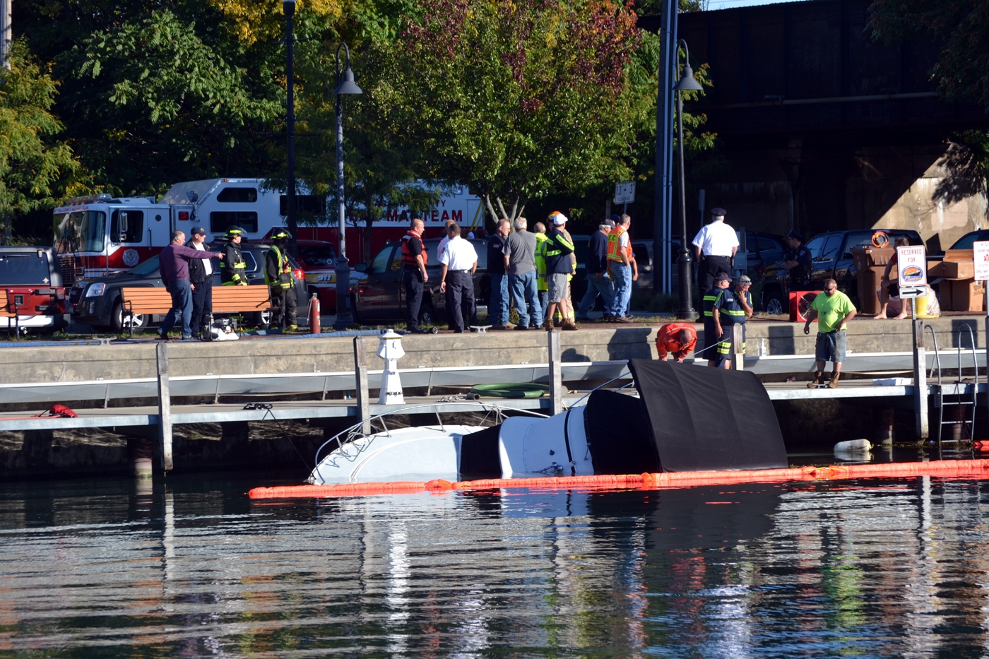 A boat was found submerged in the Erie Canal Tuesday morning.