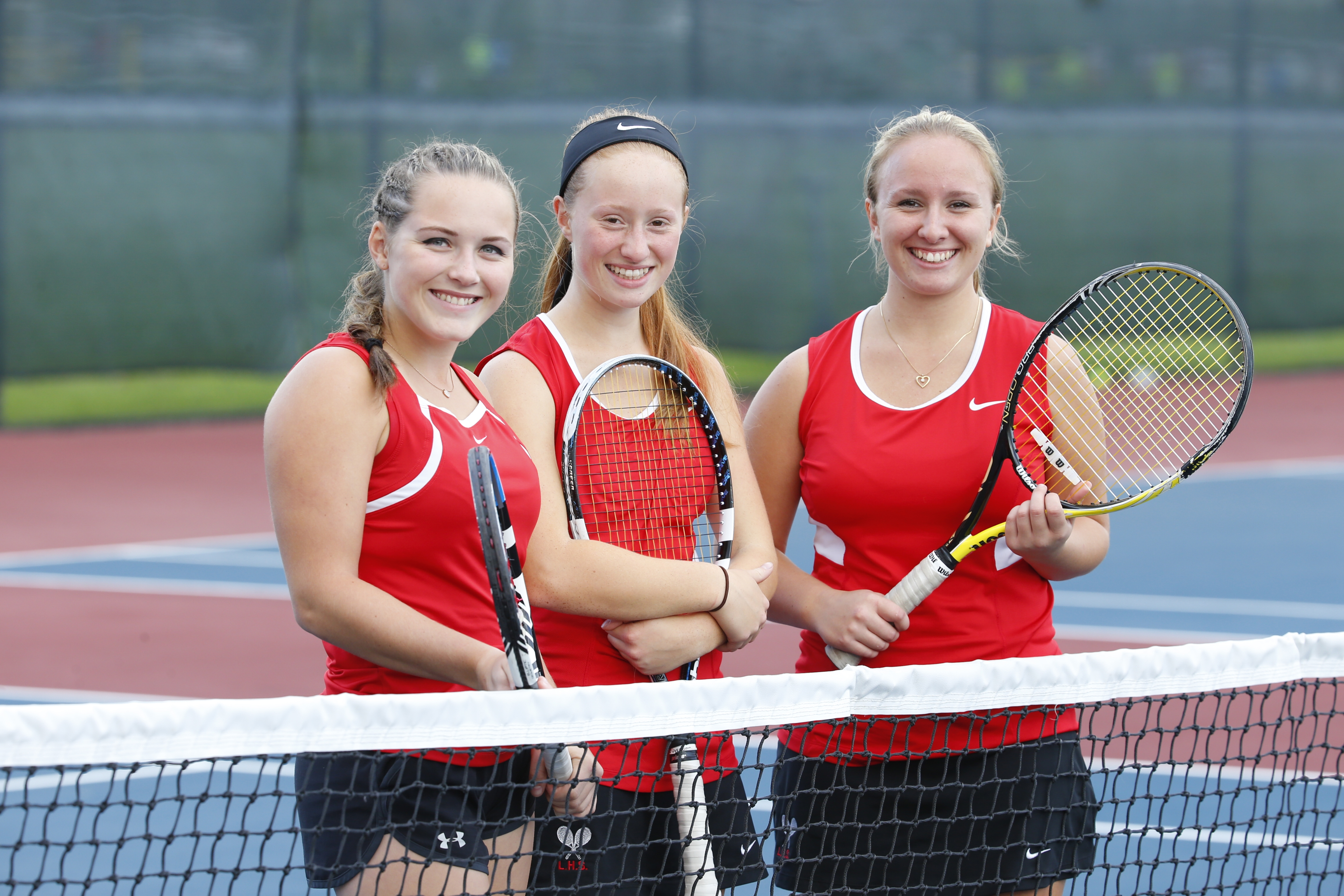 Lancaster singles players Tina Stasiuk, Paige Szymusiak and Brooke Szymusiak helped the Legends go unbeaten in ECIC I.