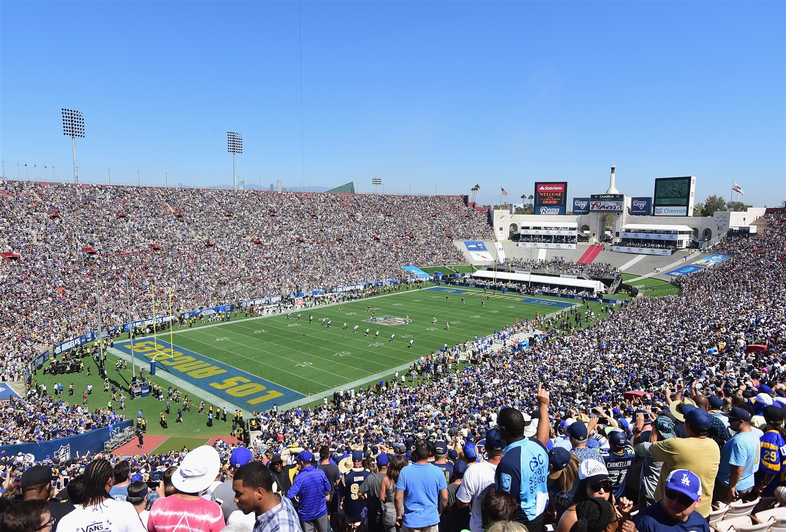 The newly relocated Rams are playing in the Los Angeles Coliseum.