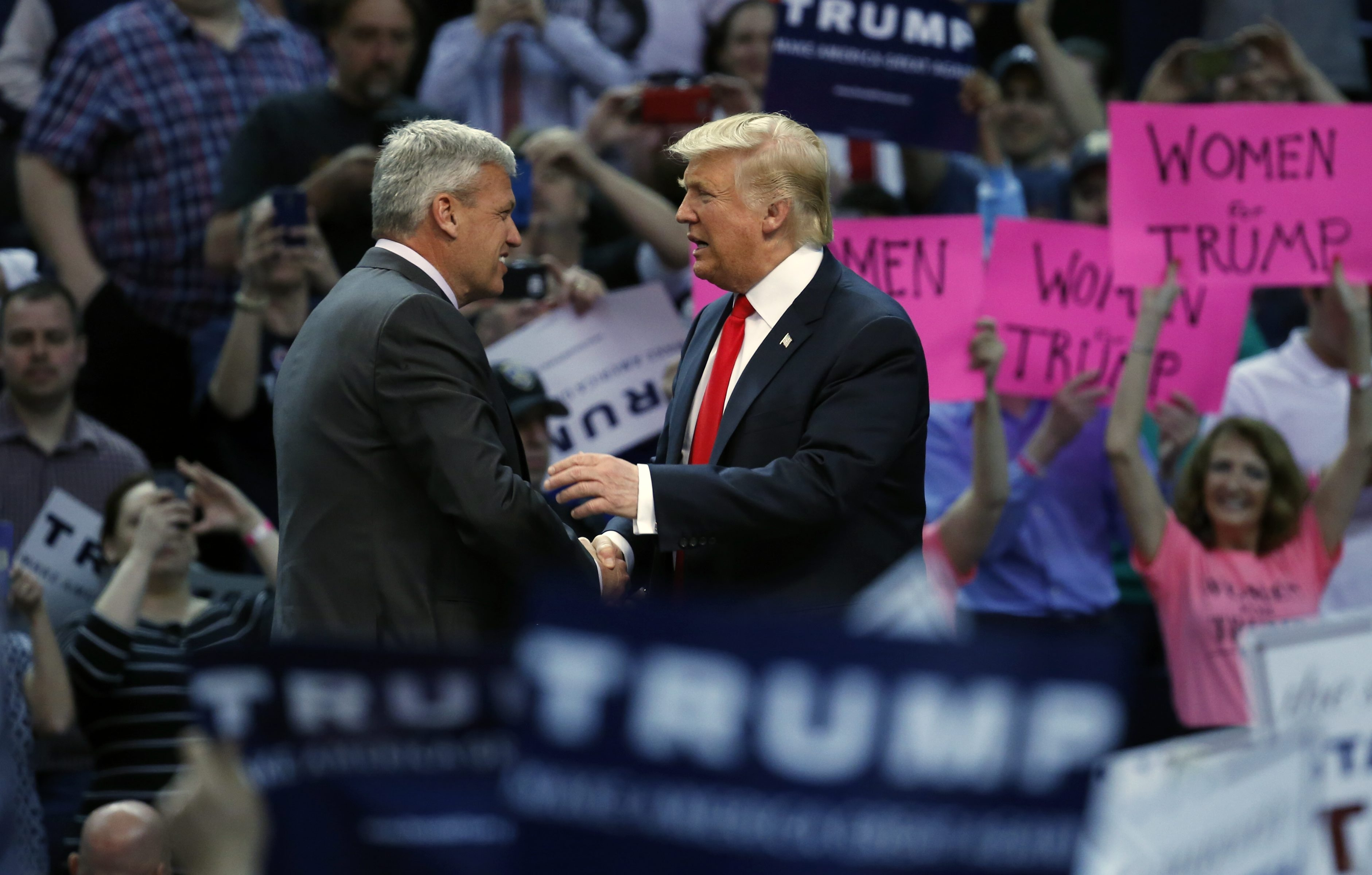 Buffalo Bills head coach Rex Ryan introduces Republican presidential candidate Donald Trump at Trump's rally at First Niagara Center on April 18, 2016.