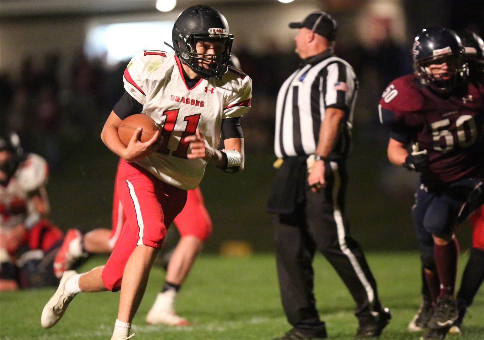 Mitch Padilla and the Maple Grove Red Dragons have a first-place showdown in Class D on Friday night against fellow unbeaten Silver Creek in Bemus Point.
