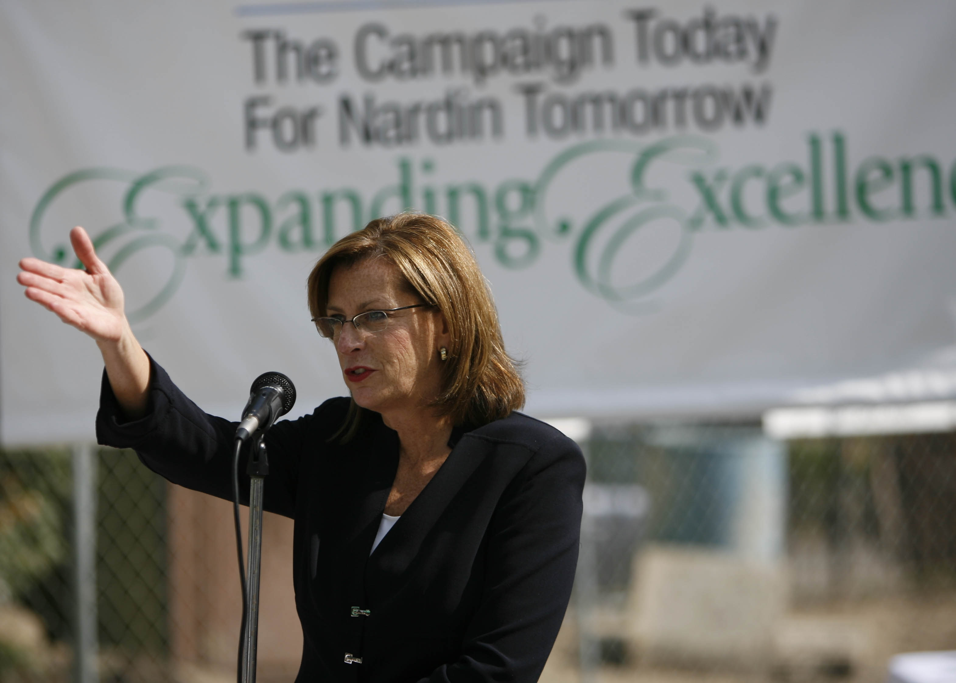 Nardin Academy President Marsha Joy Sullivan speaks during a ceremony at Nardin Academy on   Sept. 17, 2009. (Photo by Derek Gee)