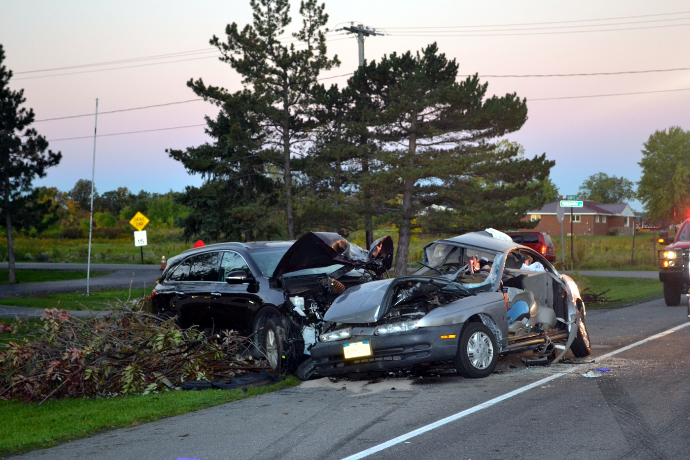 The accident scene at Tuscarora and Lockport roads early Friday. (Larry Kensinger/Special to The News)
