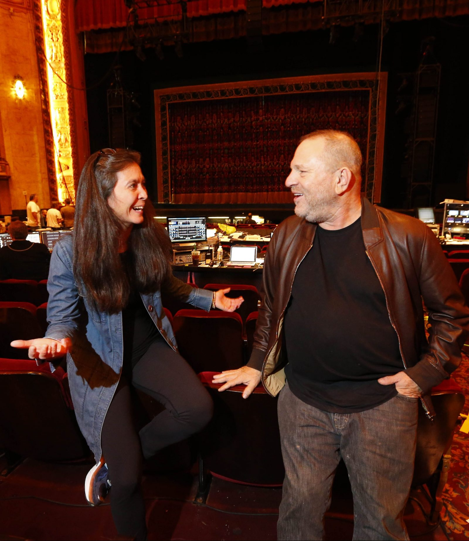 'Finding Neverland' director Diane Paulus and producer Harvey Weinstein talk during the tech load-in at Shea's. (Mark Mulville/The Buffalo News)