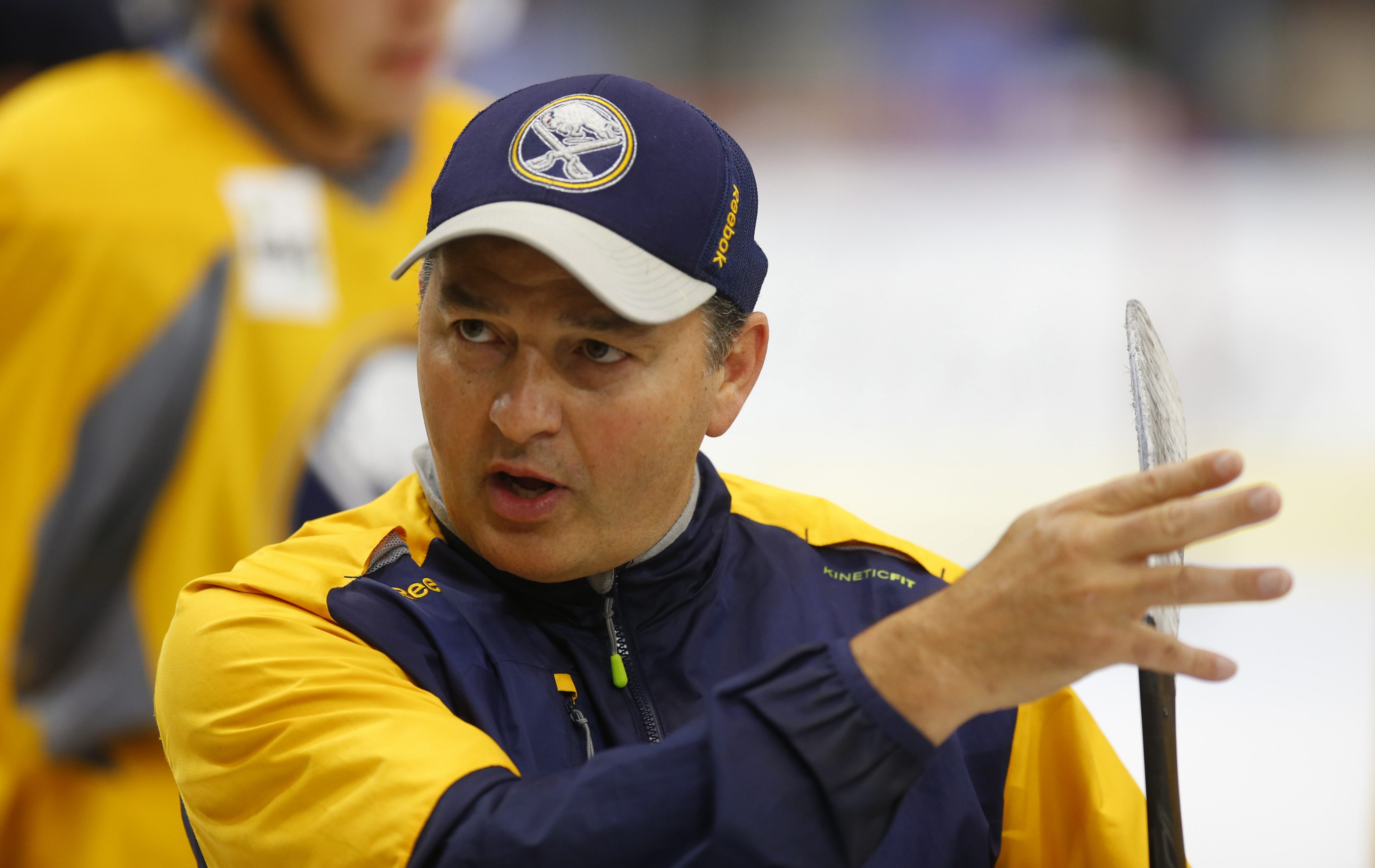 Rochester Amerks coach Danny Lambert watches Buffalo Sabres prospects during development camp.
