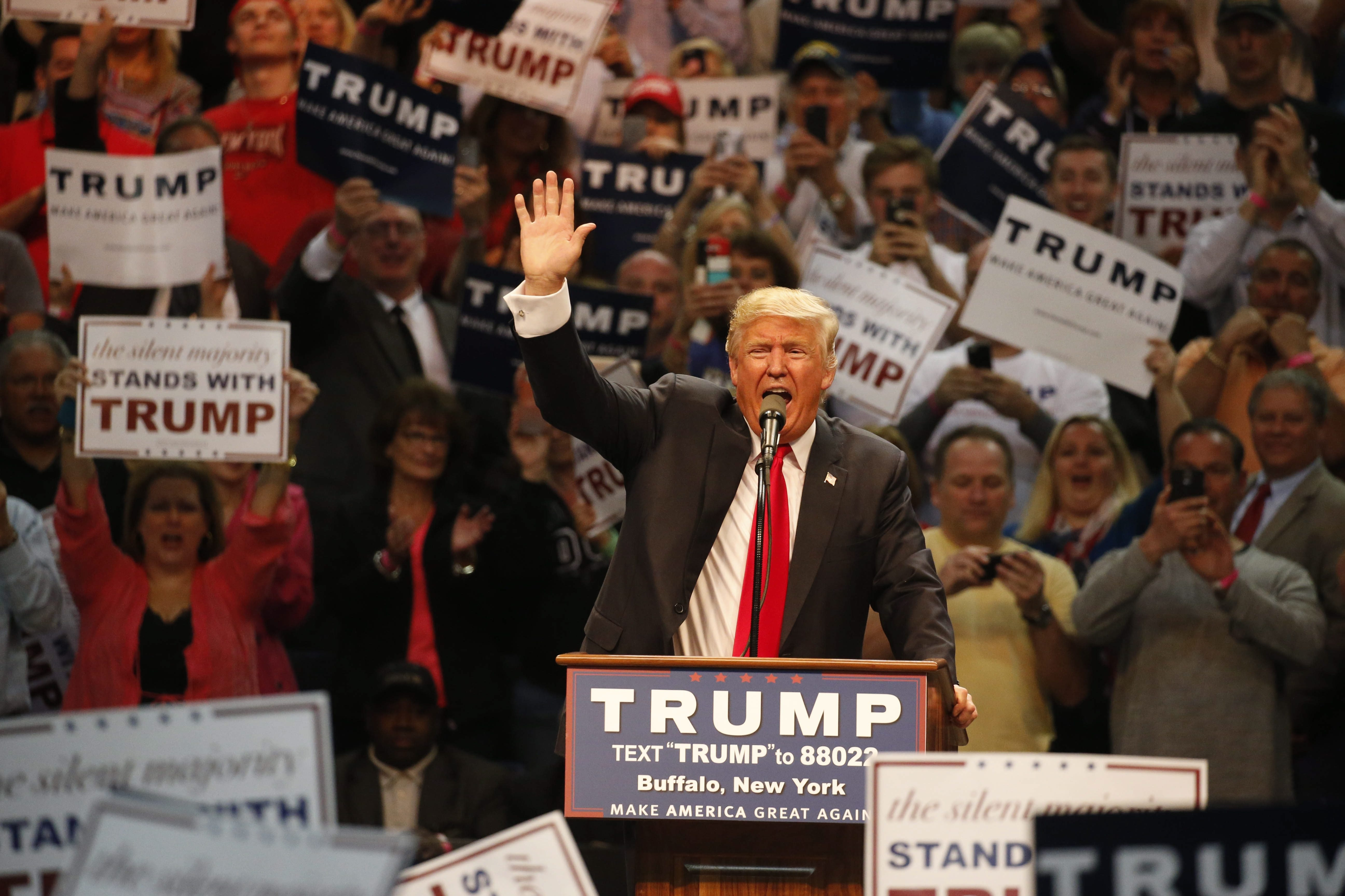 Donald Trump speaks during a rally at First Niagara Center in Buffalo, N.Y.  Monday, April 18, 2016.  (Derek Gee/Buffalo News)