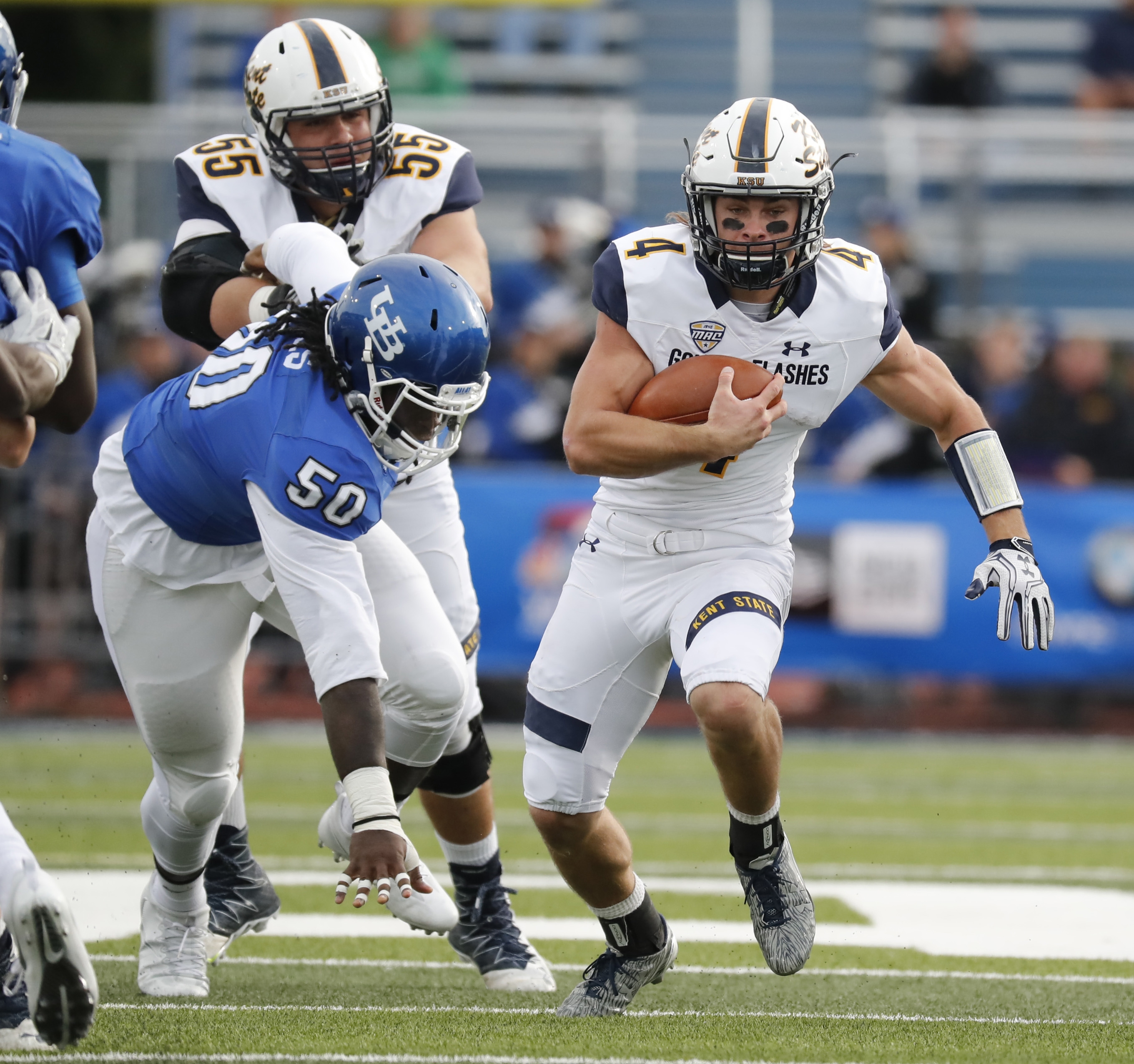 Kent State quarterback Nick Holley put UB defenders in his rearview mirror while piercing the Bulls for 224 rushing yards.