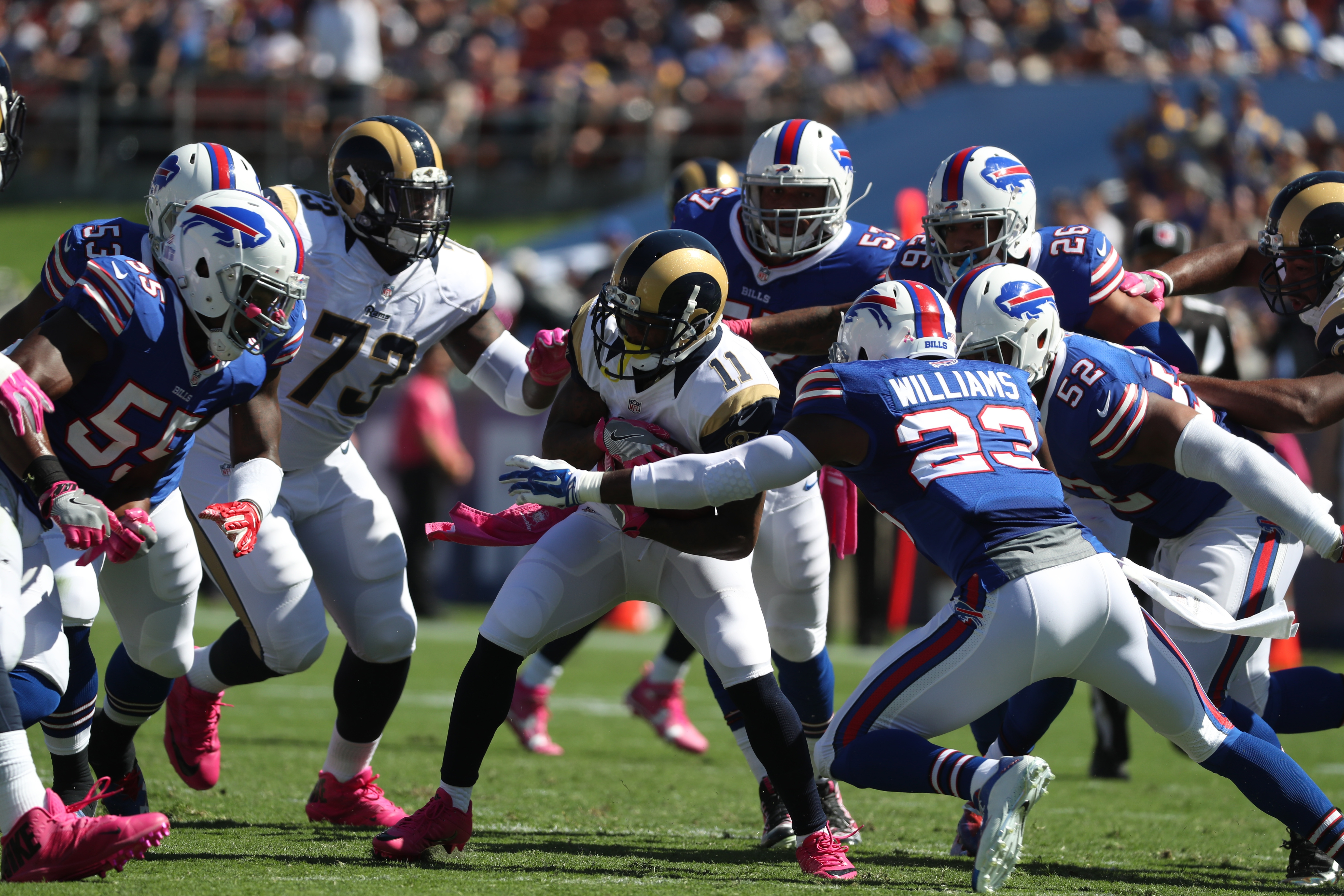 The Bills' defense had the Rams surrounded for much of the afternoon.