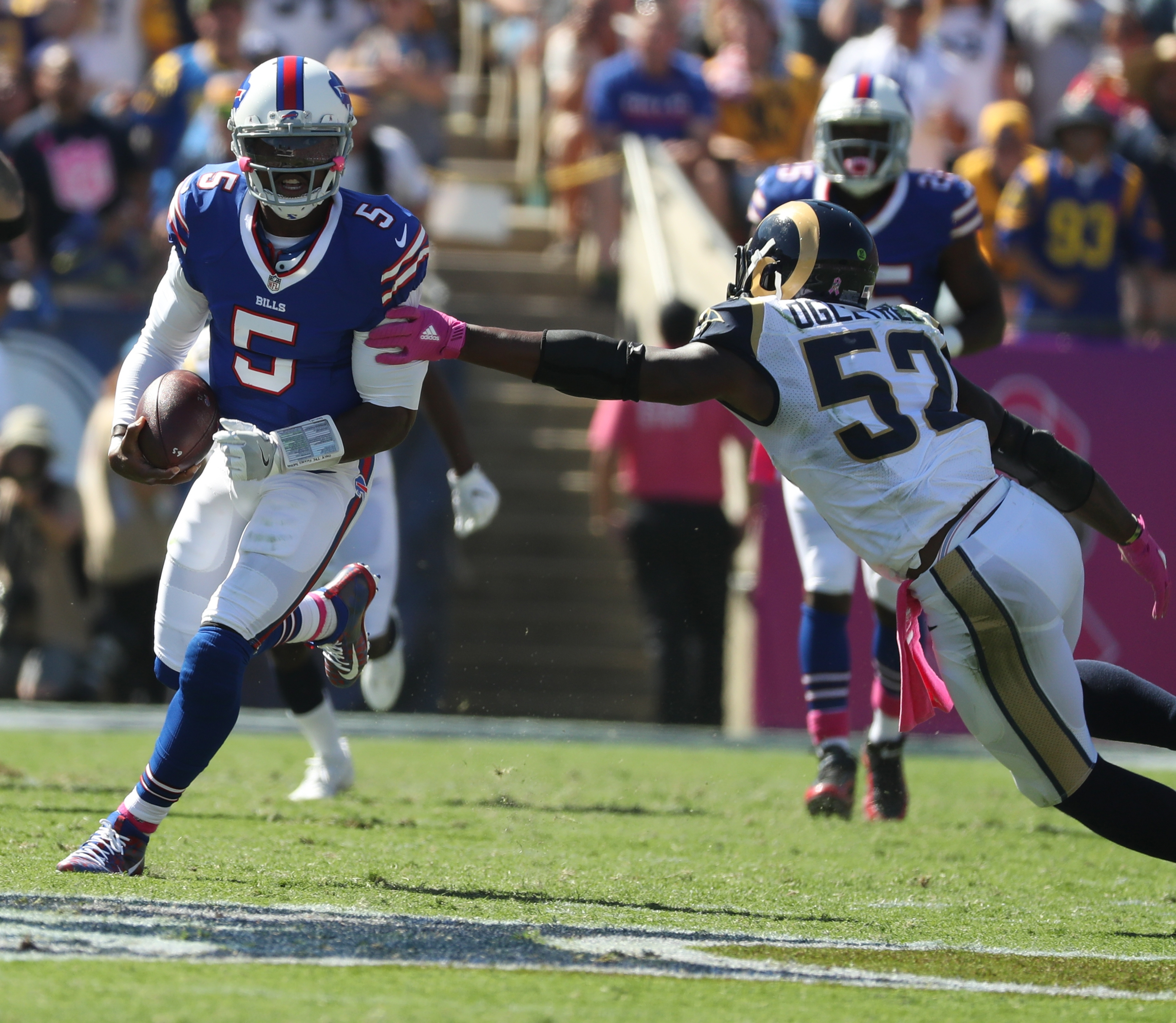 Bills quarterback Tyrod Taylor made things happen with his legs, but his passing game left much to be desired in Sunday's win over the Rams in Los Angeles. (James P. McCoy/Buffalo News)