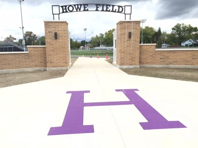 "A purple ""H"" gives visitors a Hamburg Central hello at the new entrance to Howe Field. (Barbara O'Brien/Buffalo News)"