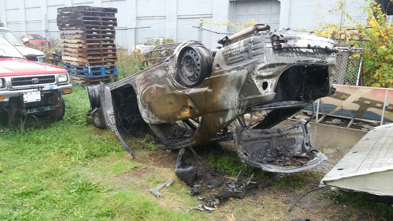 This stolen car was found burning Friday morning near 62 Lister Ave. (Jamestown police)