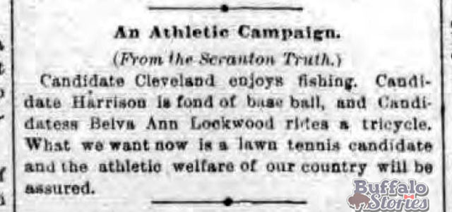 Presidential candidates Grover Cleveland, Benjamin Harrison, and Belva Lockwood all enjoy some manner of sport, as reported in the Buffalo Evening News, 1888.