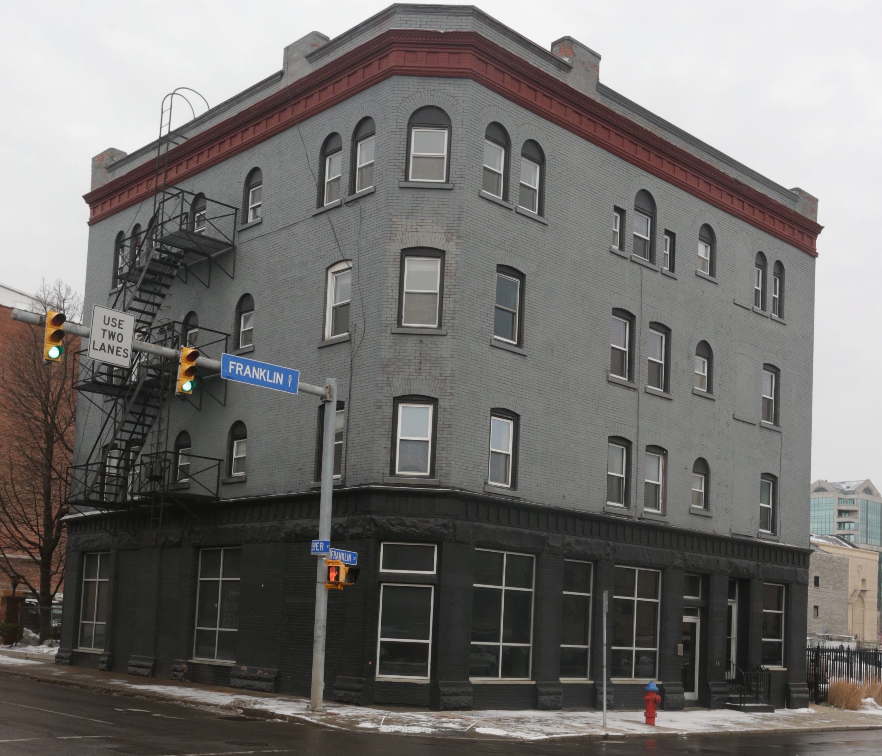 The 130-year-old Bachelor Building, at 331 Franklin St., was demolished in October 2016 to make way for a 12-story mixed-use building. The building was the oldest existing apartment building in Buffalo that was built for that purpose.