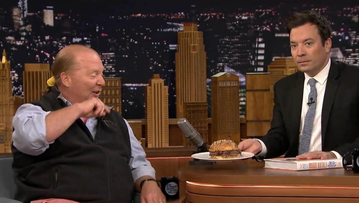 Celebrity chef Mario Batali is shocked to see Buffalo's Famous' beef on weck on the set of 'The Tonight Show.' (screenshot from 'The Tonight Show')