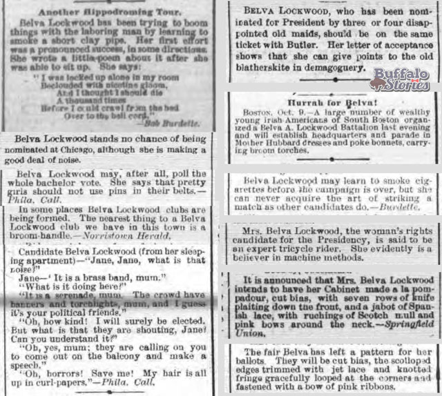 The Buffalo Evening News' coverage of Belva Lockwood's Presidential campaign was dismissive (above), but coverage in the Buffalo Times (below) was nasty.