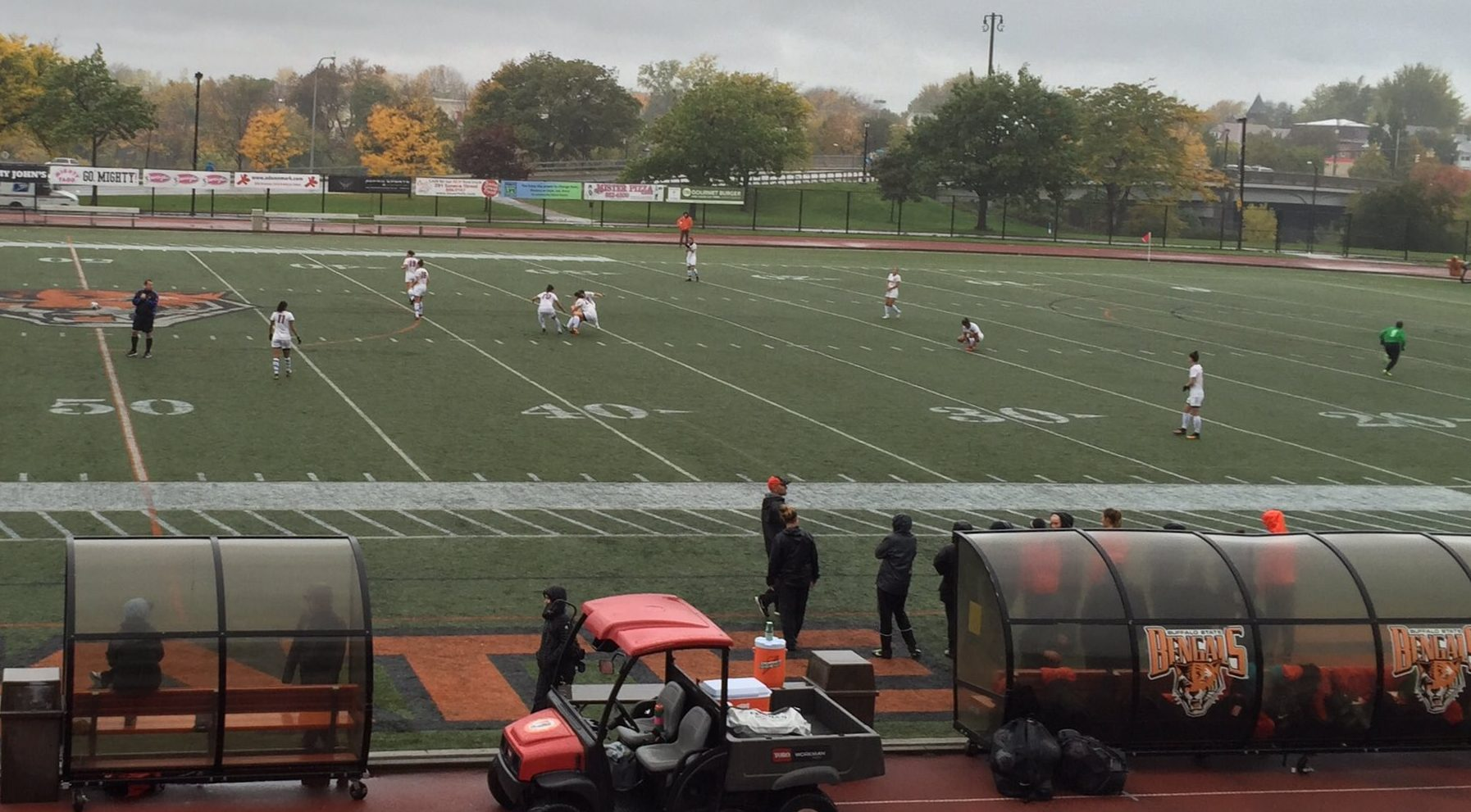 The Buffalo State women's soccer team takes the field against Oneonta on a rainy, windy and chilly day. (Ben Tsujimoto/Buffalo News)