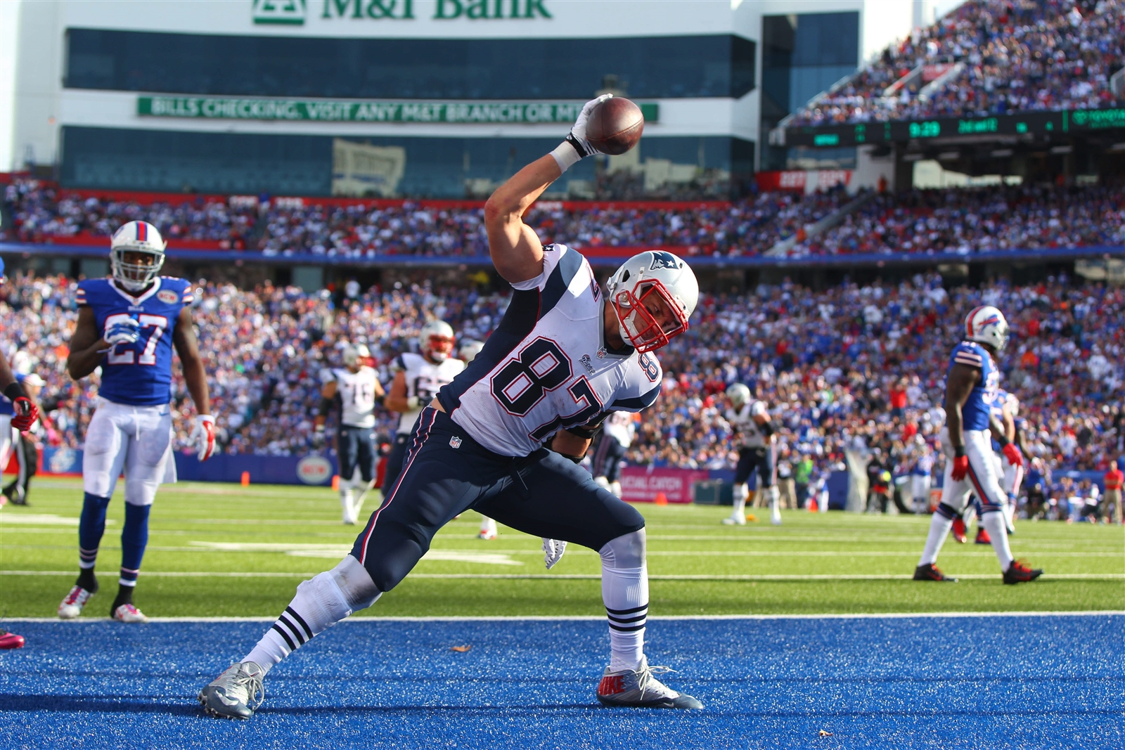Amherst native Rob Gronkowski is building a resume that will put him in discussion as the greatest tight end of all-time. (Mark Mulville/Buffalo News)