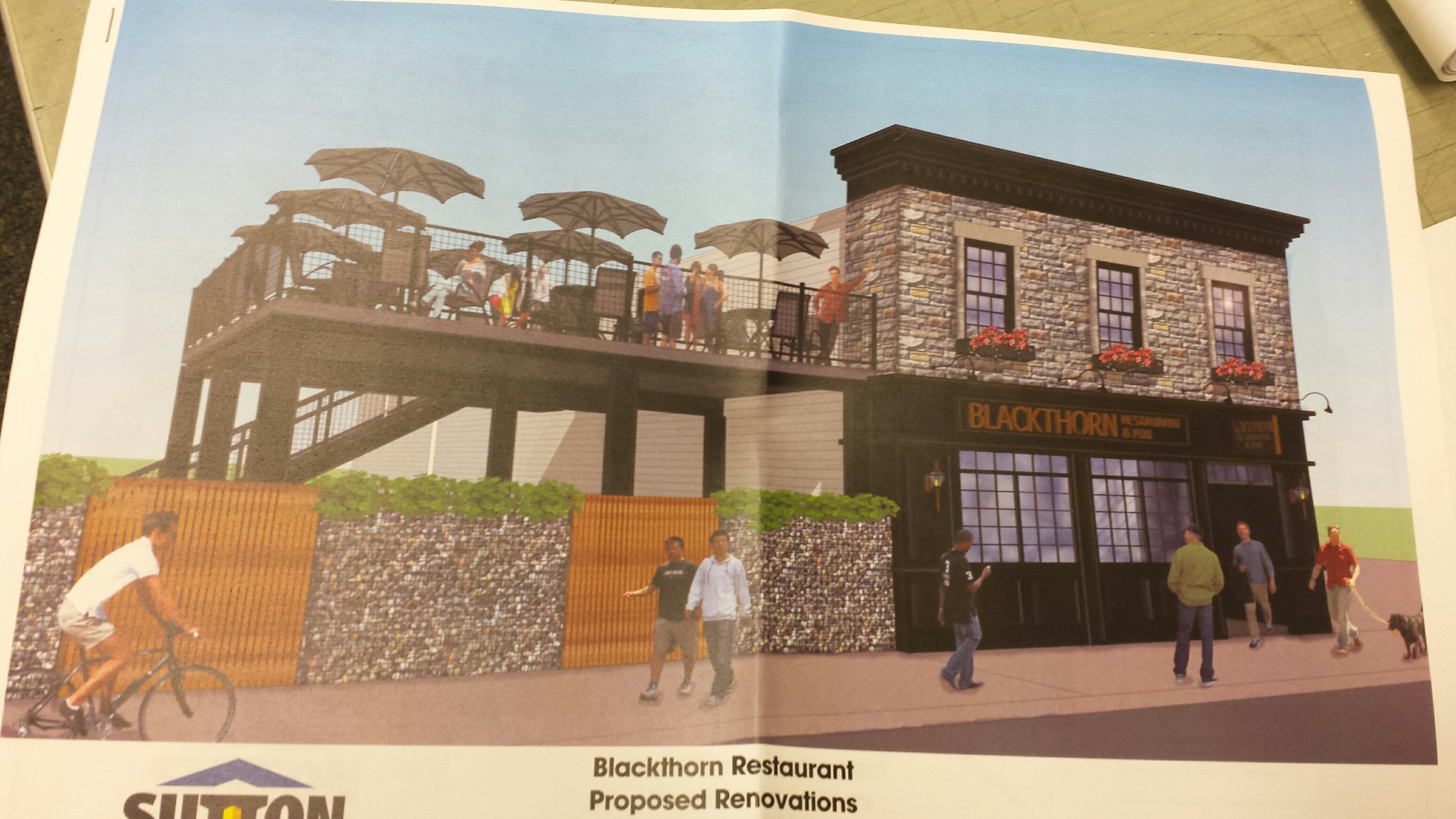 Proposed exterior renovation and new patio for Blackthorn Restaurant & Pub. (Jonathan D. Epstein/Buffalo News)
