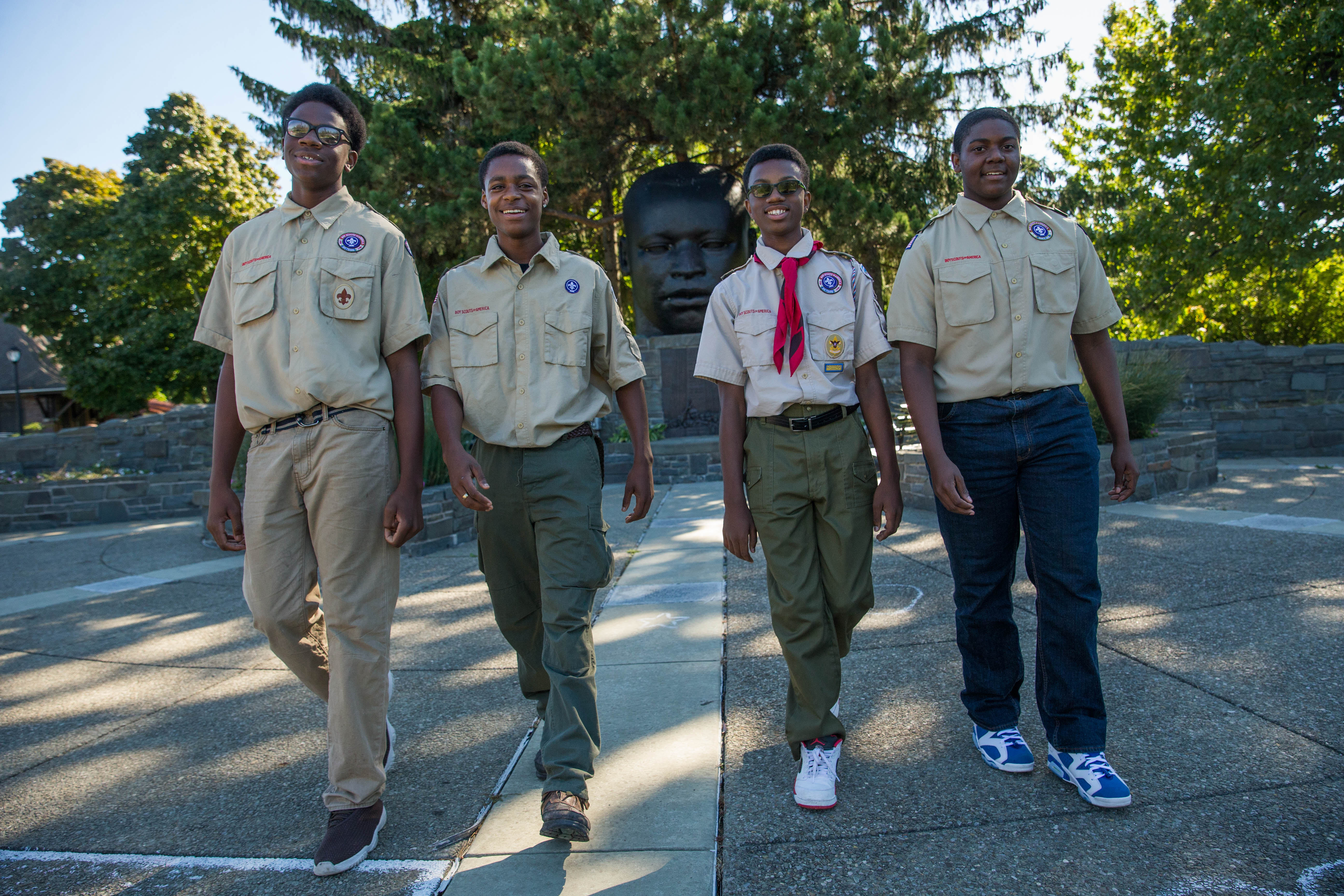 Boy Scouts, from left, Emmanuel Trueheart, 15, Ramon Winfrey, 17, Dekari Jackson, 13, and Jeffrey McMillan, 14, hiked from Niagara Falls to Martin Luther King Park in Buffalo to raise awareness about diabetes while working on a merit badge en route to become Eagle Scouts, on Monday, Oct. 10, 2016. (Derek Gee/Buffalo News)