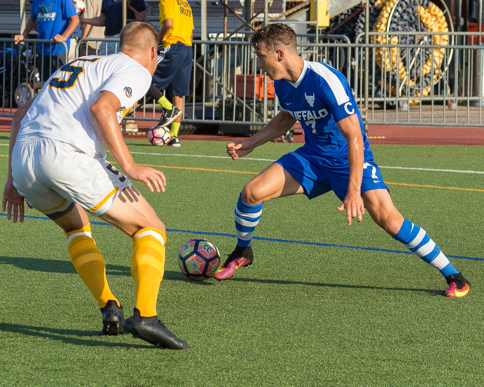 UB's Russell Cicerone, right, saved the Bulls again with a late equalizer. He's pictured above against Canisius earlier in the season. (Don Nieman/Special to The News)