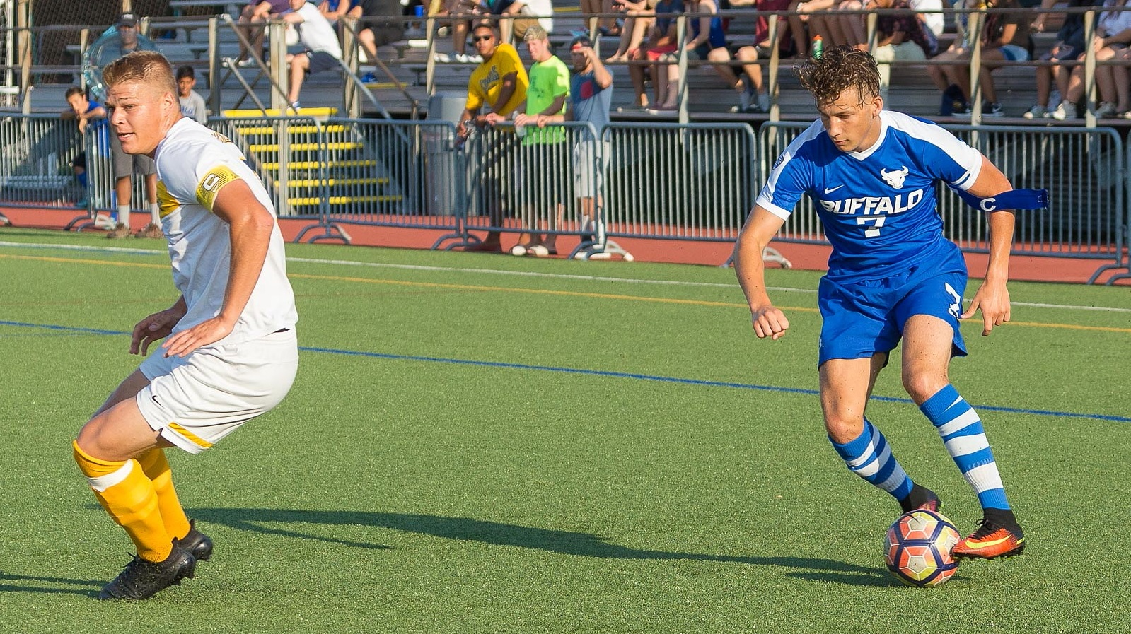 Cicerone turns around Canisius defender Thomas Teupen with a clever fake kick and cut. (Don Nieman/Special to The News)