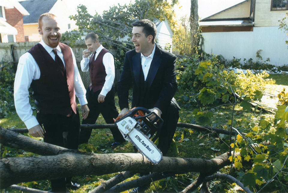 It's not every wedding photo in which you see a groom with a chainsaw