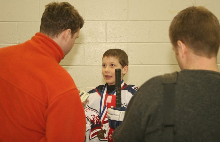 Russell Cicerone gets interviewed as a youngster after scoring a game-winning goal for the USA Eagles. (via Cicerone)