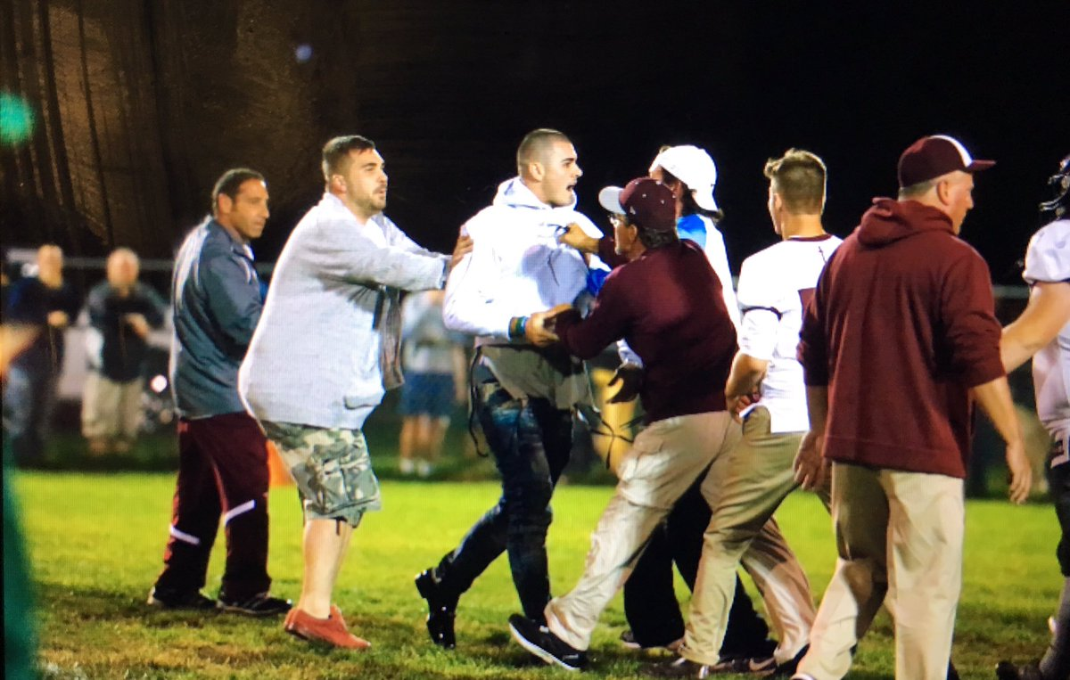 Chad Kelly spotted on the field during the fight. (Harry Scull Jr./Buffalo News)