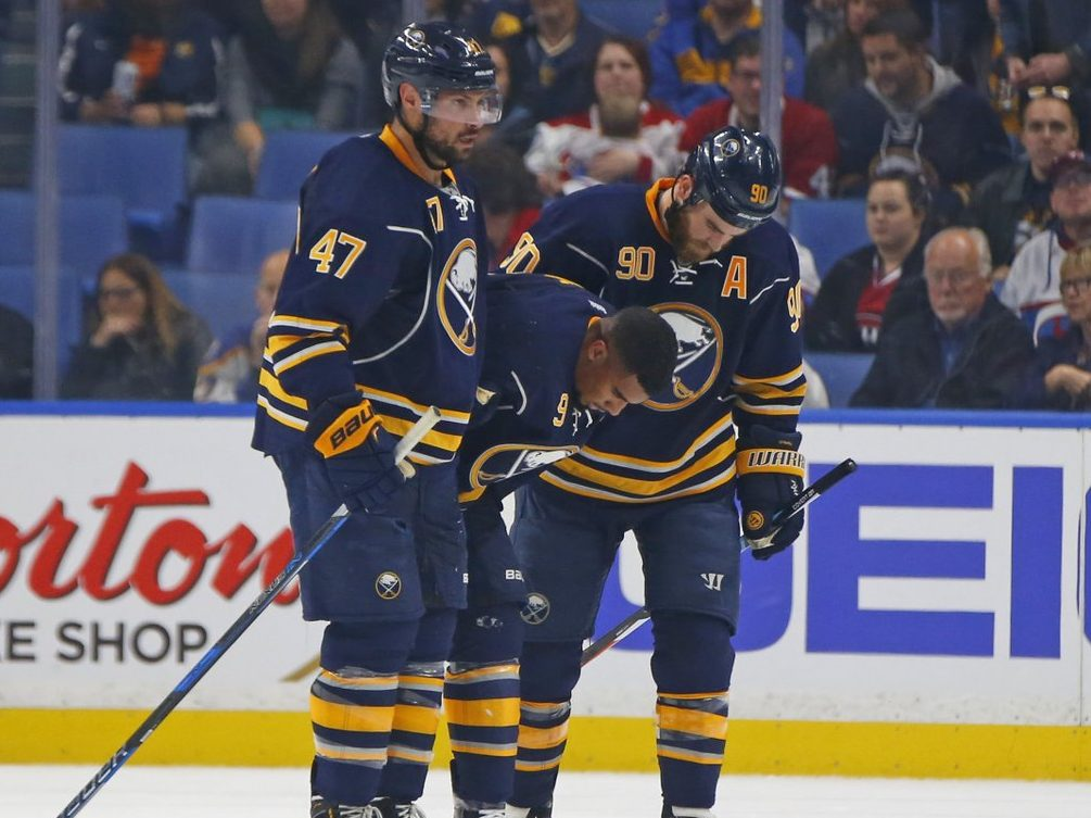Evander Kane suffered three cracked ribs Thursday night. (Photo by Harry Scull Jr./Buffalo News)