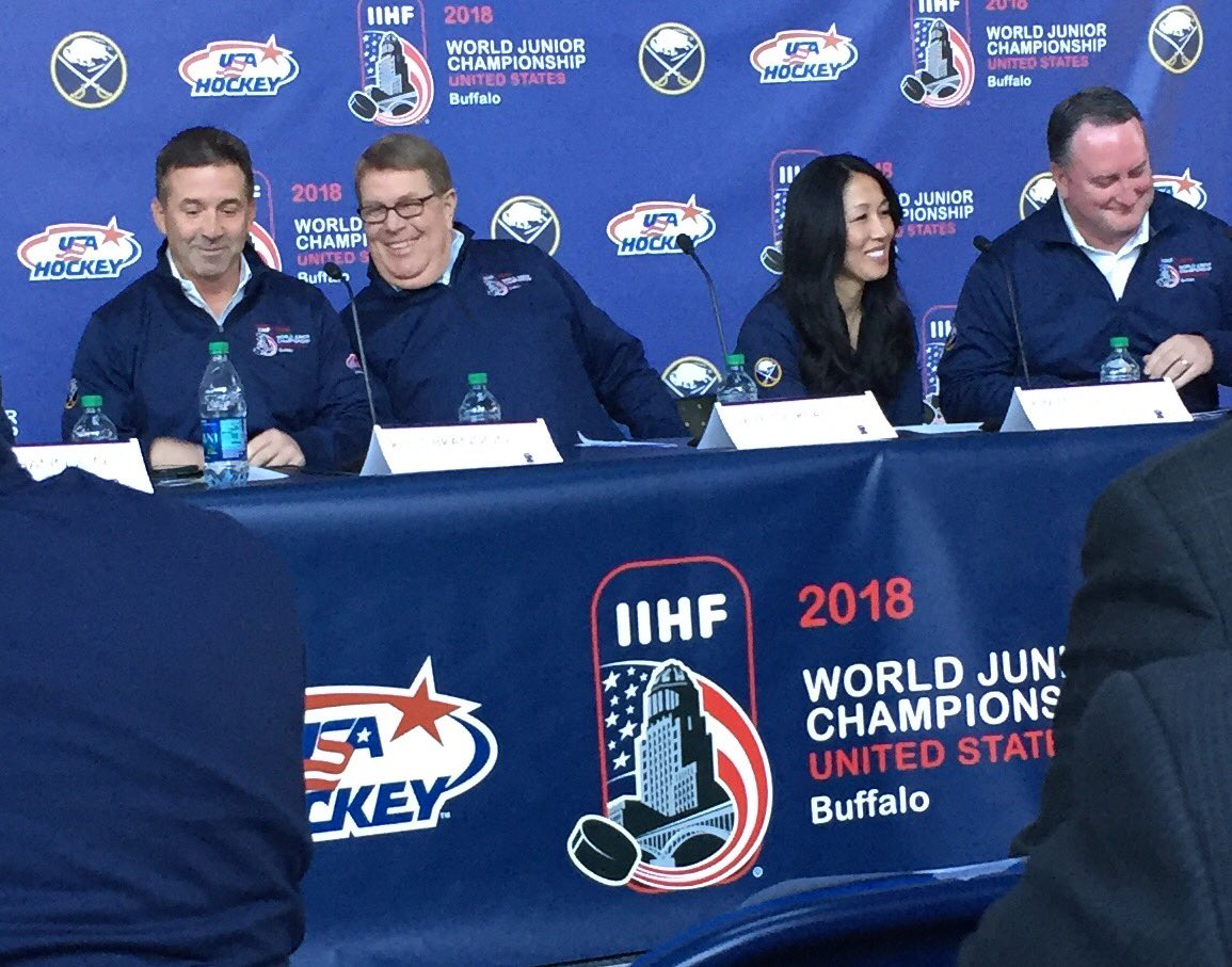 Sabres President Russ Brandon, USA Hockey's Dave Ogrean, Sabres owner Kim Pegula and the Sabres' Mike Gilbert announce details for the 2018 world juniors. (Photo by John Vogl)