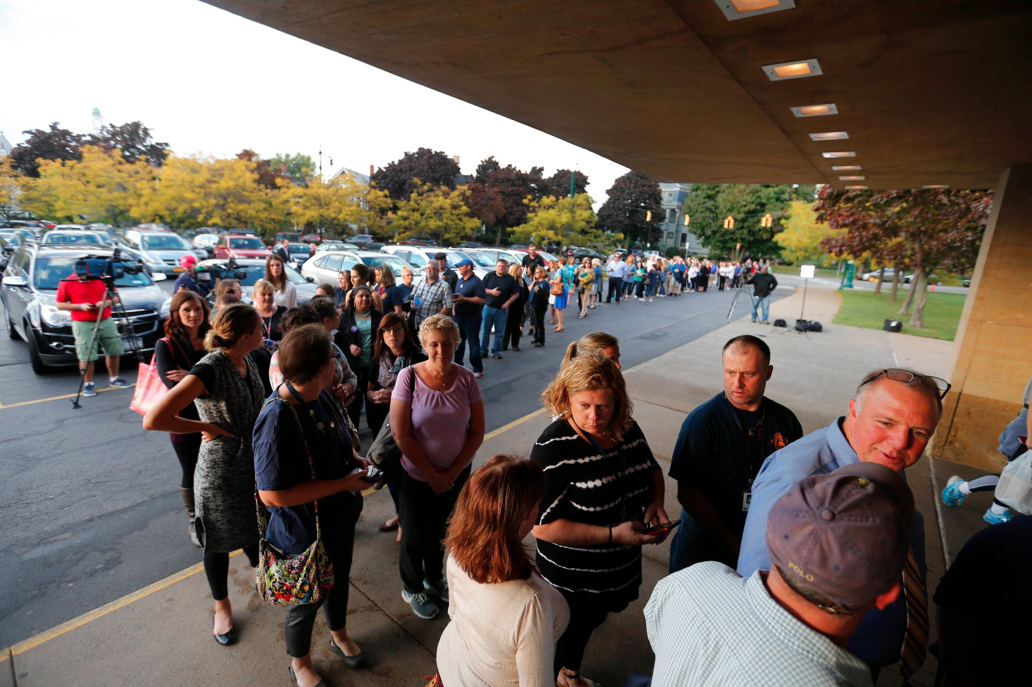 Buffalo Teachers wait in line at Kleinhans Music Hall to vote on a proposed contract. (Mark Mulville/Buffalo News)