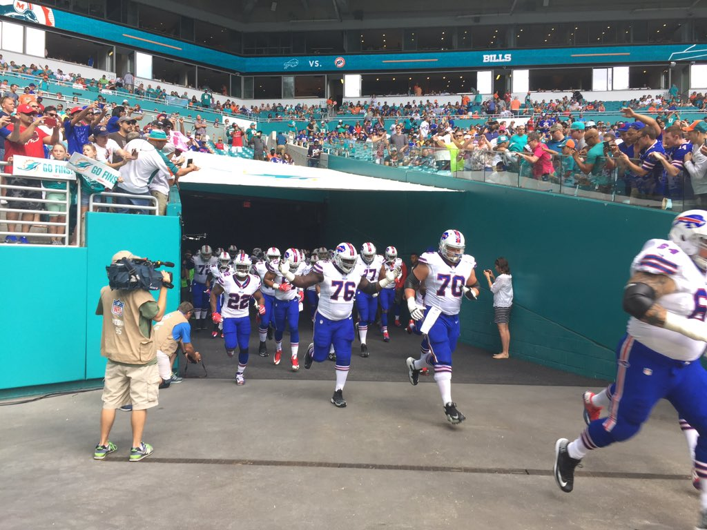The Bills take the field in Miami. (James P. McCoy/Buffalo News)