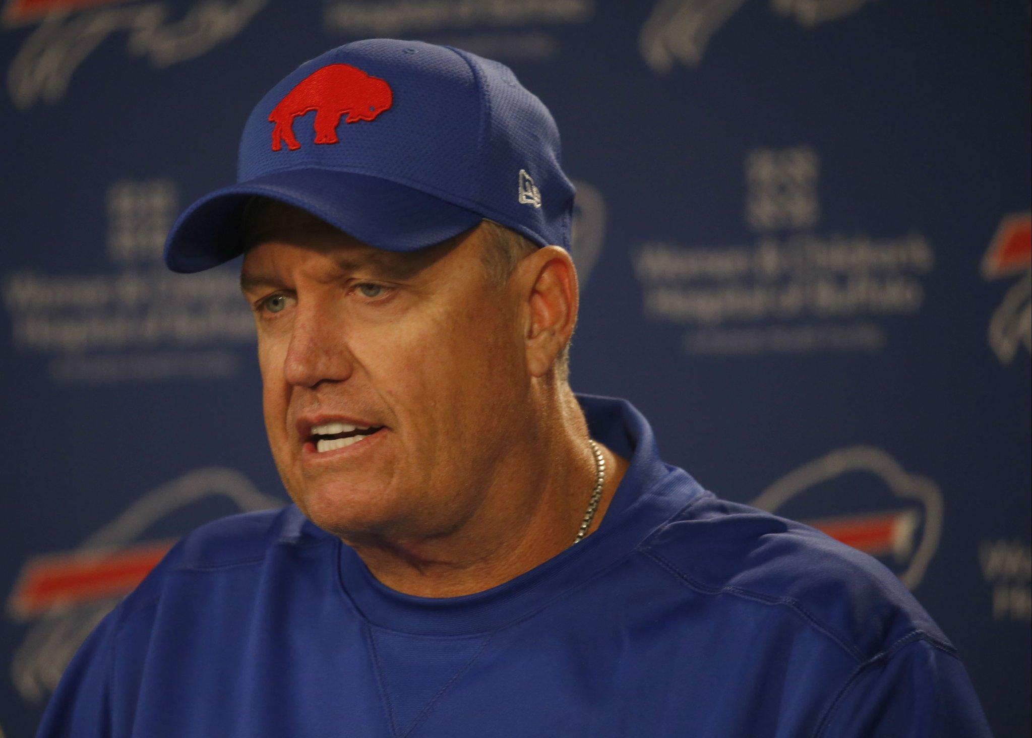 Rex Ryan during his weekly Wednesday press conference at One Bills Drive. (Robert Kirkham/Buffalo News)