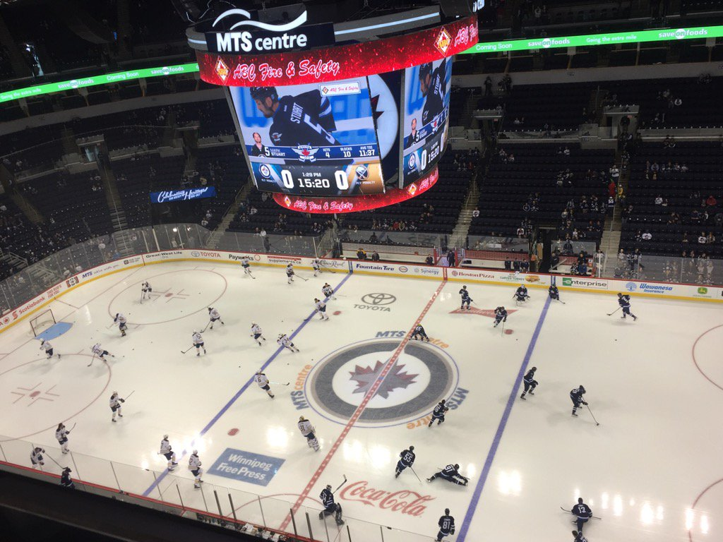 The Sabres and Jets warm up for today's game. (Mike Harrington/Buffalo News)