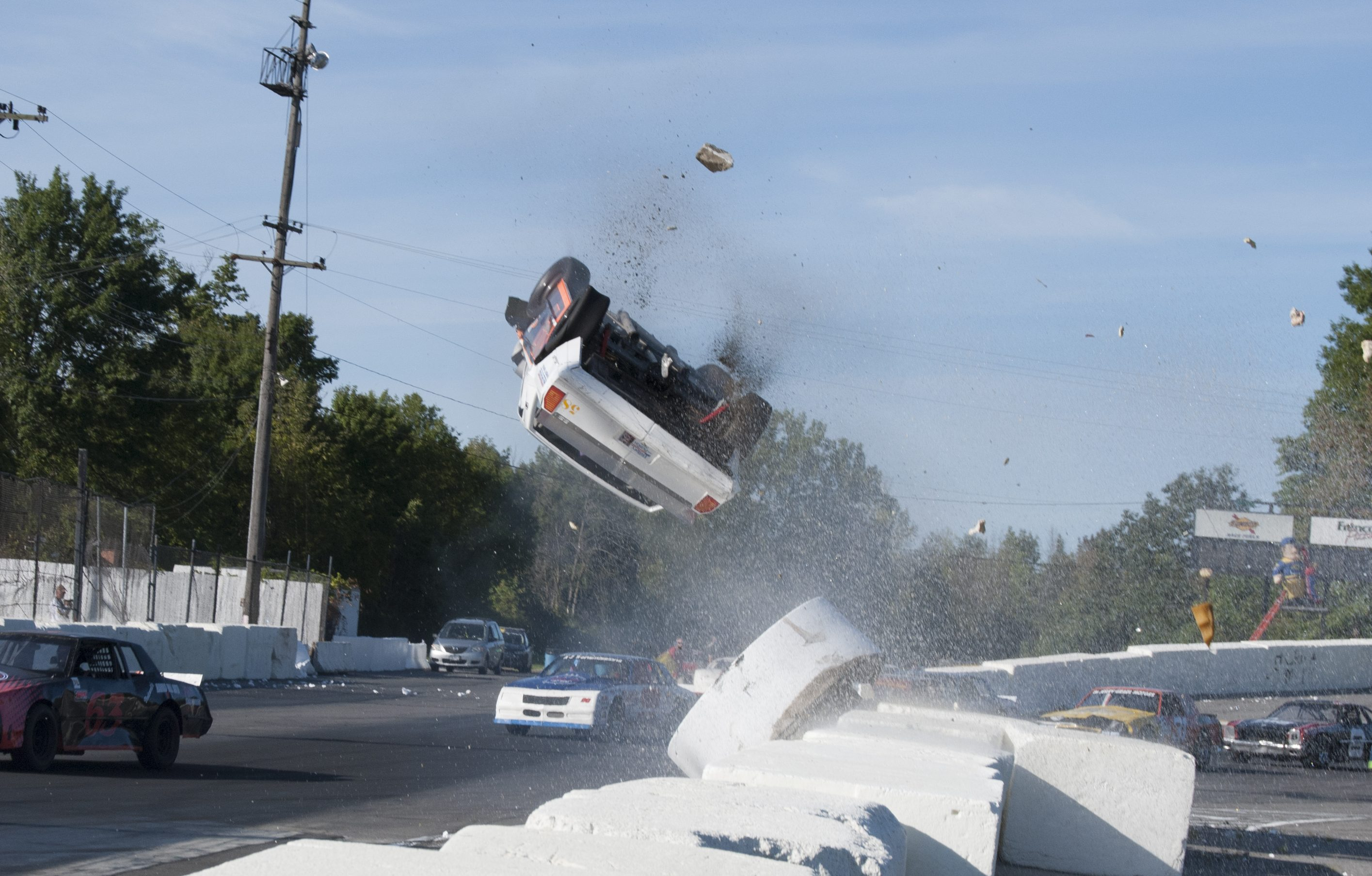 Jim Bryant's car goes up and over at Lancaster. (Photo by Joe Grabianowski)
