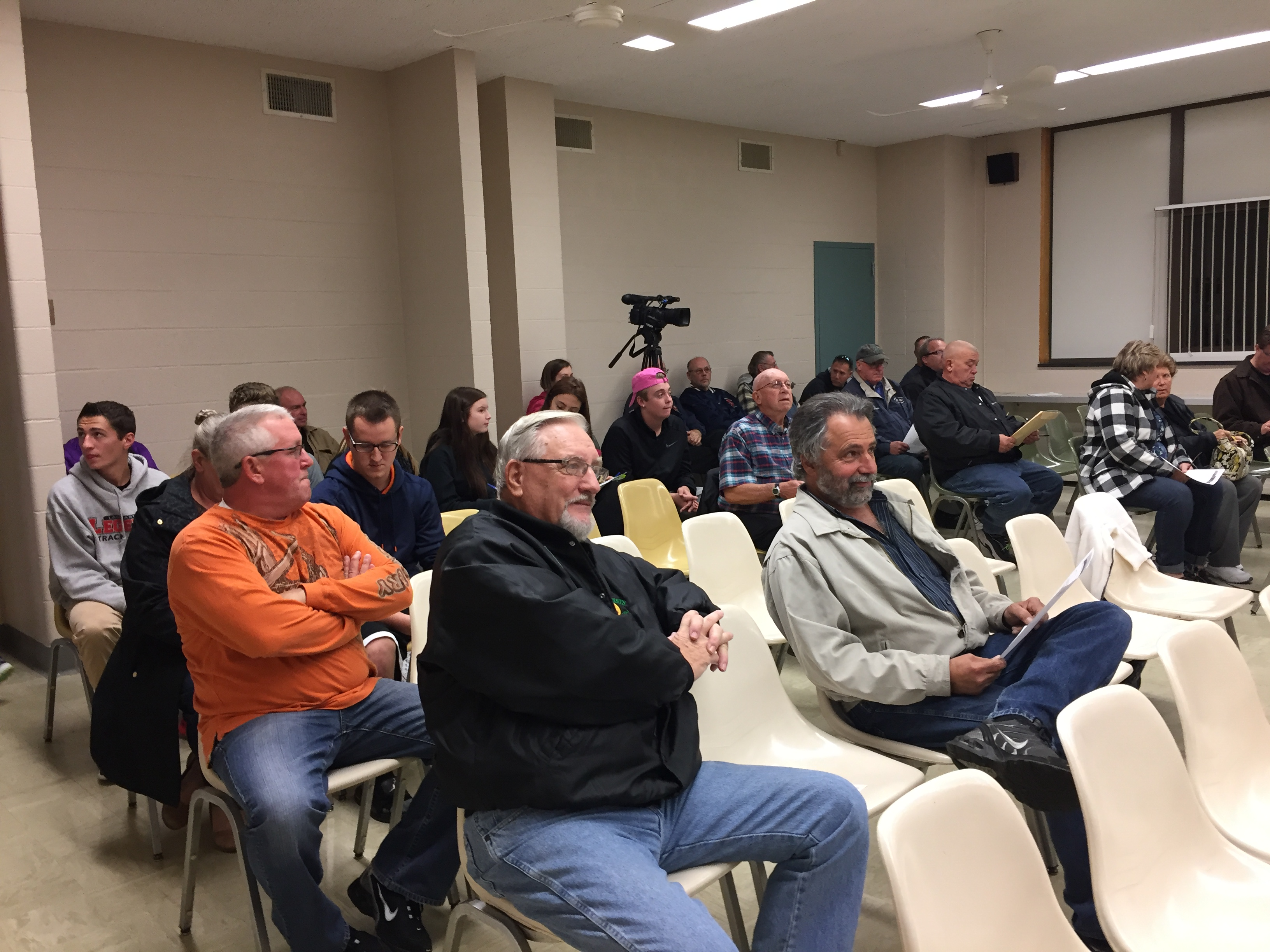 Depew residents gather before the Village Board meeting on Monday, Oct. 24, 2016. The board voted to set Jan. 17, 2017 as the date for a public referendum on whether the village government should be dissolved.