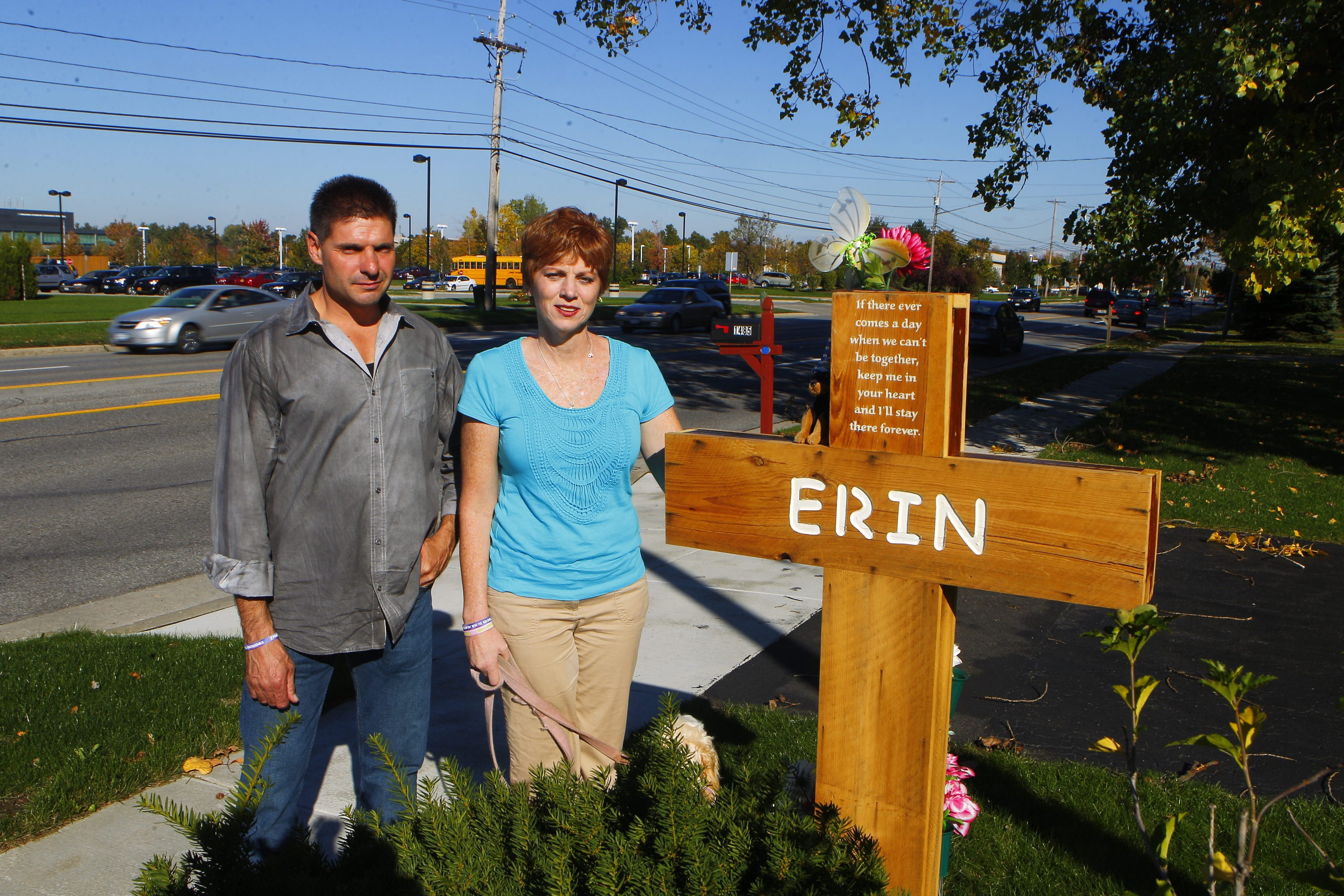 Mary and Jerry Suszynski, parents of Erin Suszynski, a 13-year-old girl kiilled while crossing Maple Road in Amherst in 2012, called on the town to install crosswalks near playgrounds. They were photographed Oct. 9, 2012.  (Photo by John Hickey / Buffalo News)
