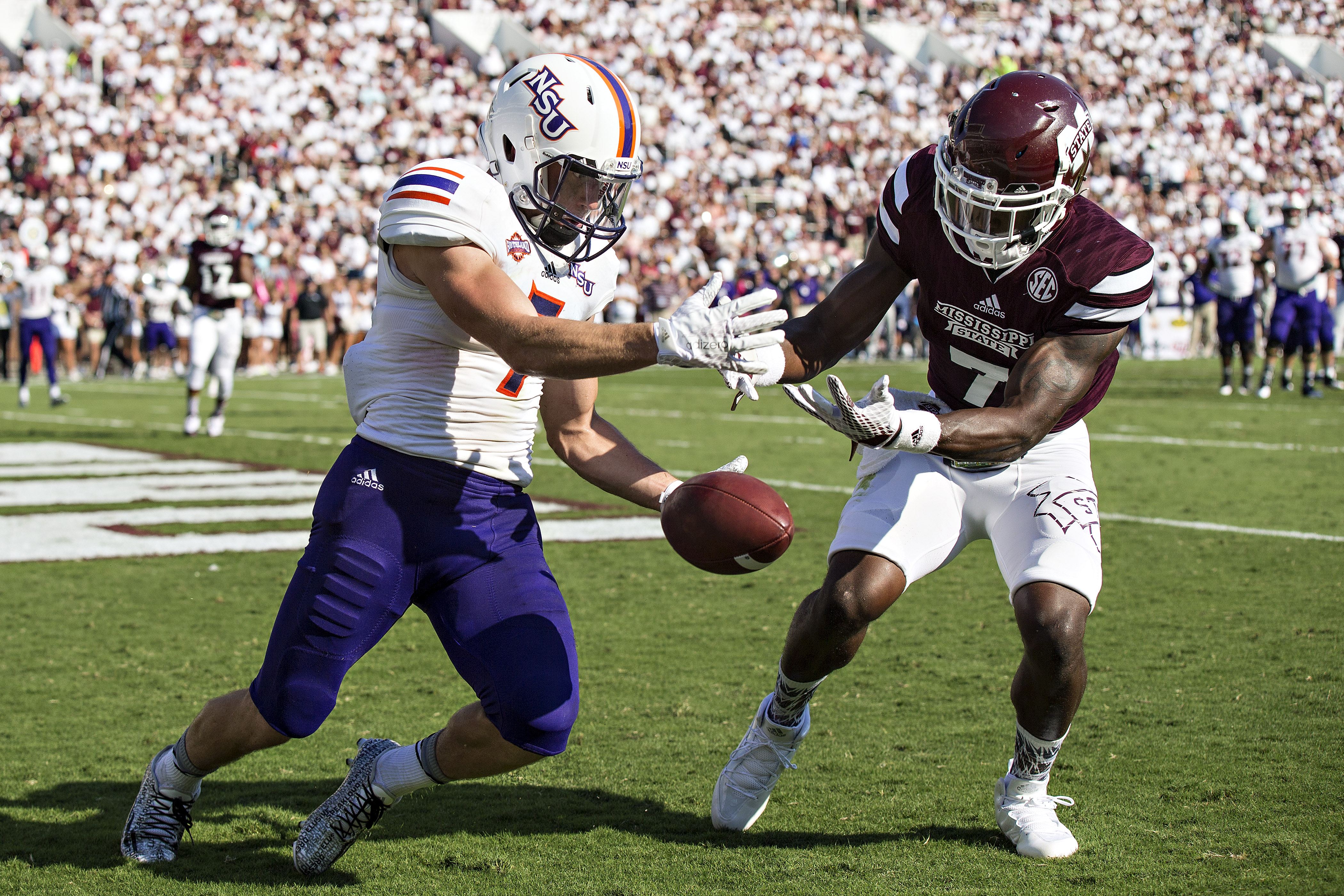 The Buffalo Bills' newest wide receiver, Ed Eagan (7) played in 44 for college games for Northwestern State. (Getty Images)