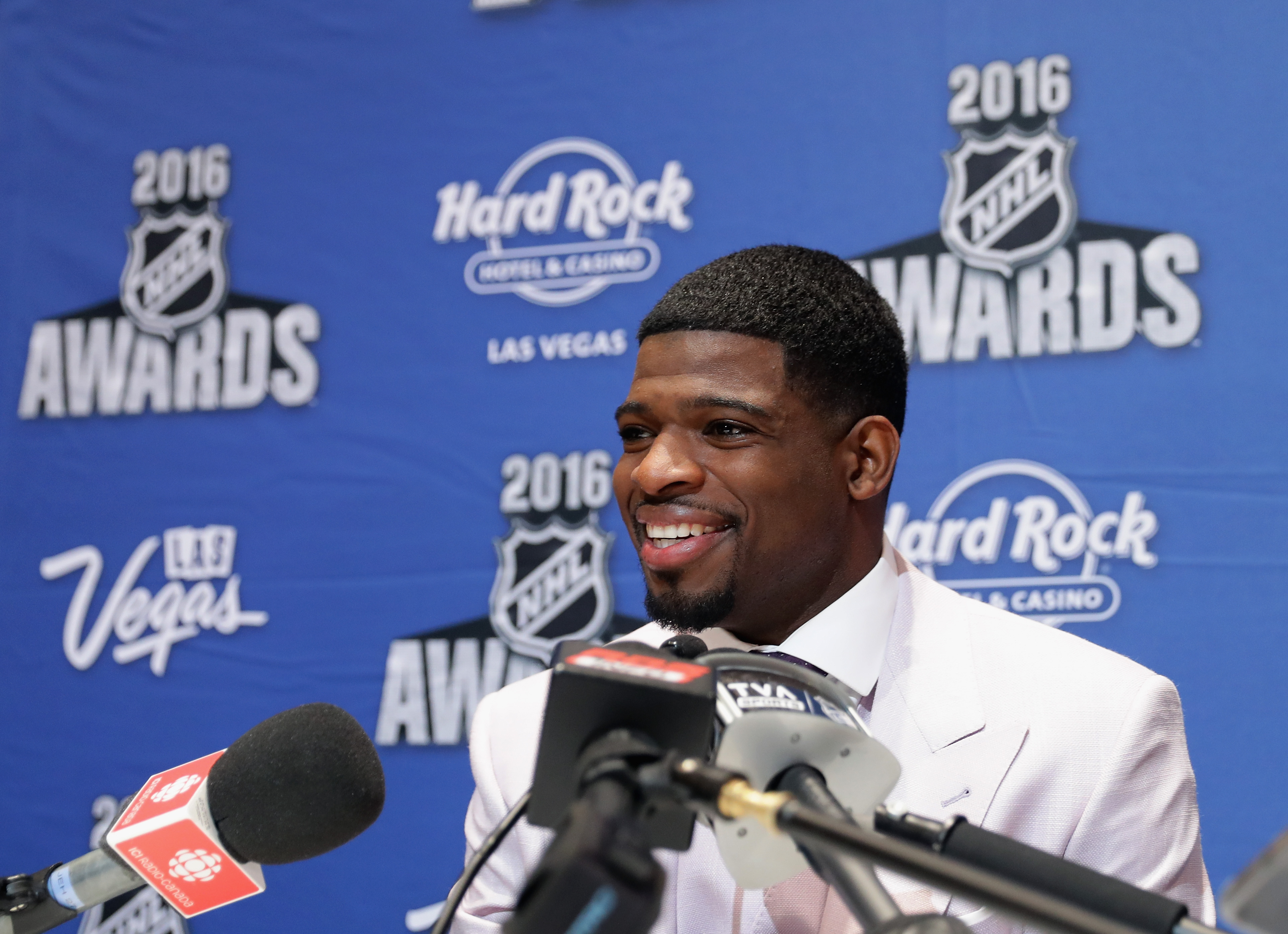 LAS VEGAS, NV - JUNE 21: P.K. Subban of the Montreal Canadiens speaks with the media during a press availability on June 21, 2016 at the Encore Ballroom in Las Vegas, Nevada. The 2016 NHL Award Ceremony will by held on June 22 at the Encore Theater at Wynn Las Vegas. (Photo by Bruce Bennett/Getty Images)