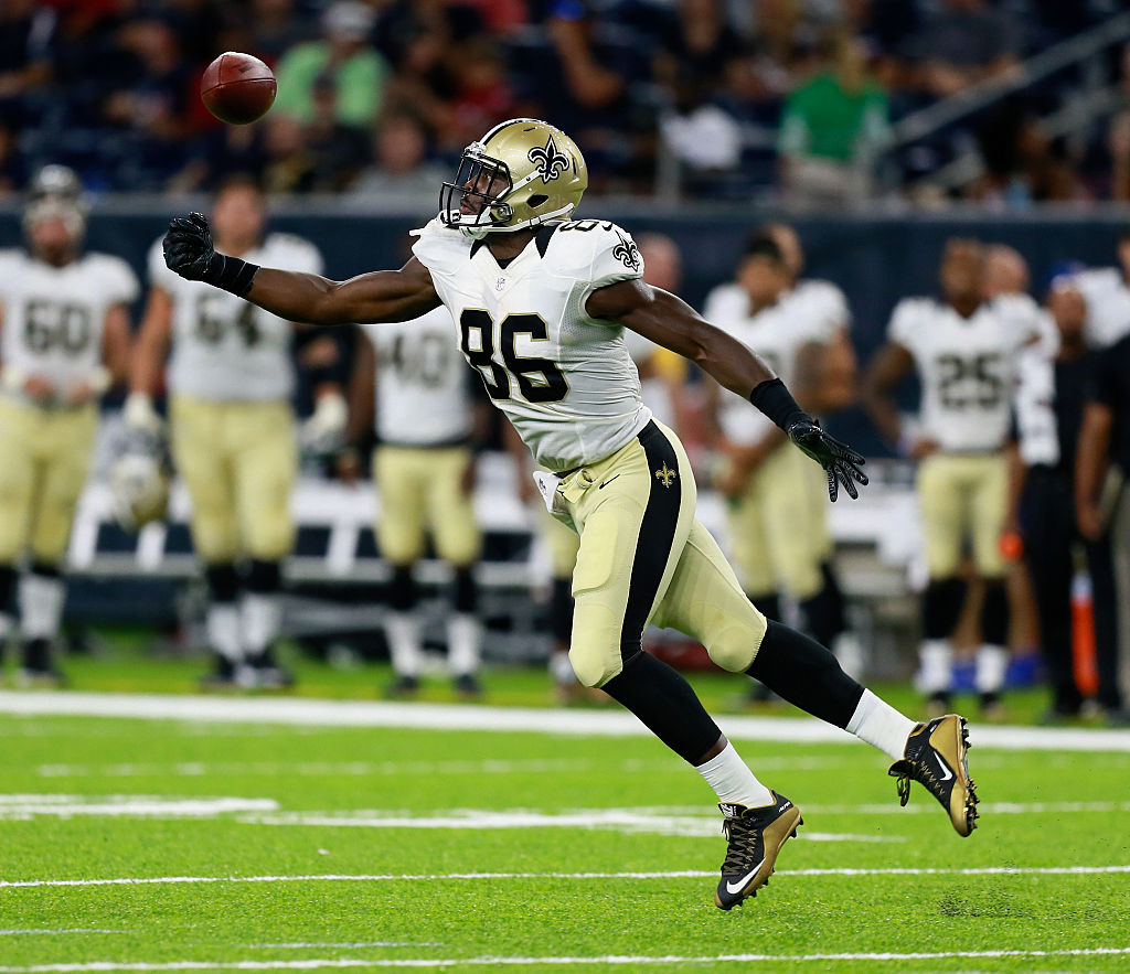 Chris Manhertz played in three regular season games for the Saints before heading to Carolina (Getty Images)