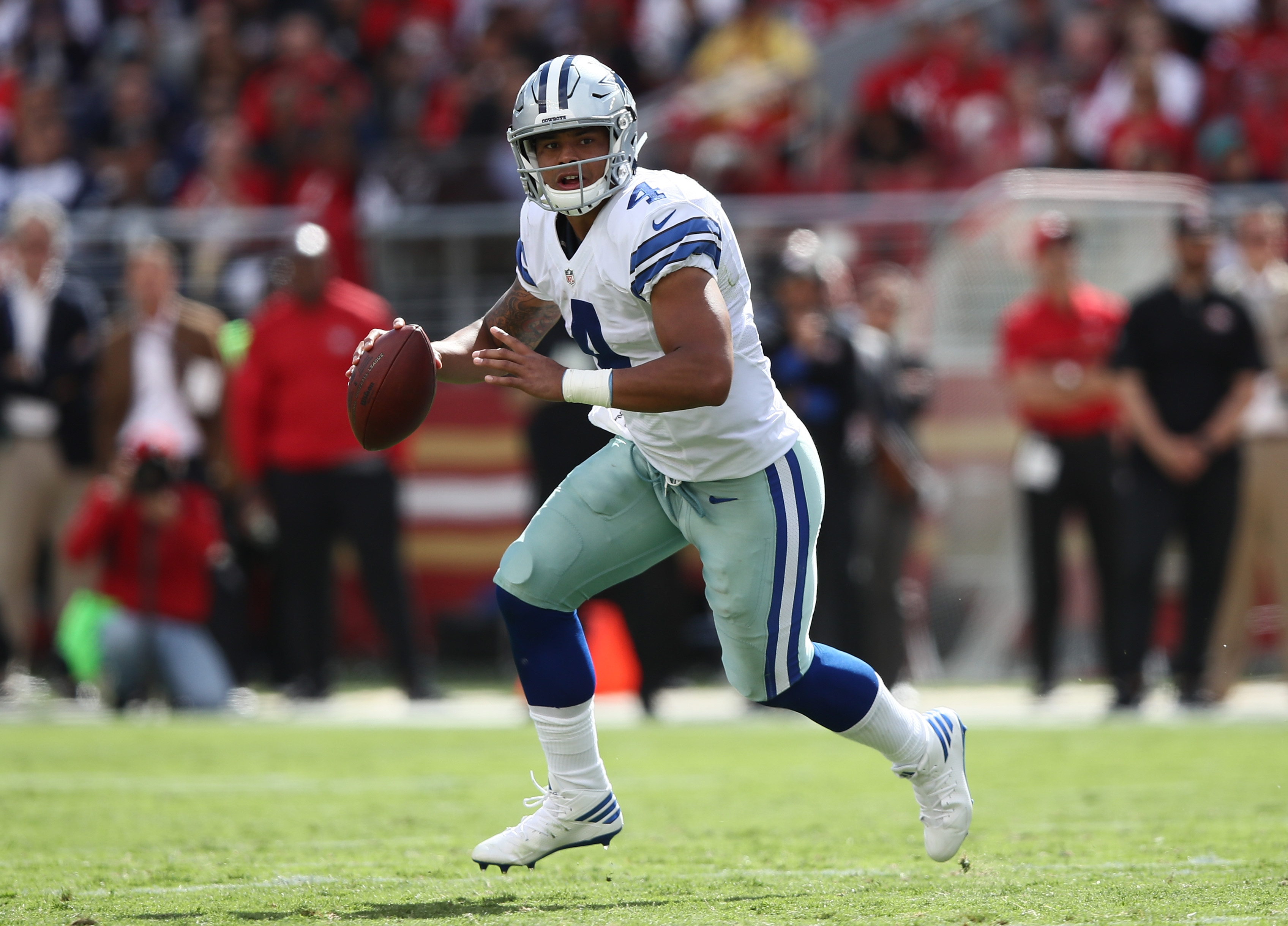 Dak Prescott and the Dallas Cowboys host division rival Philadelphia Sunday night. (Getty Images)