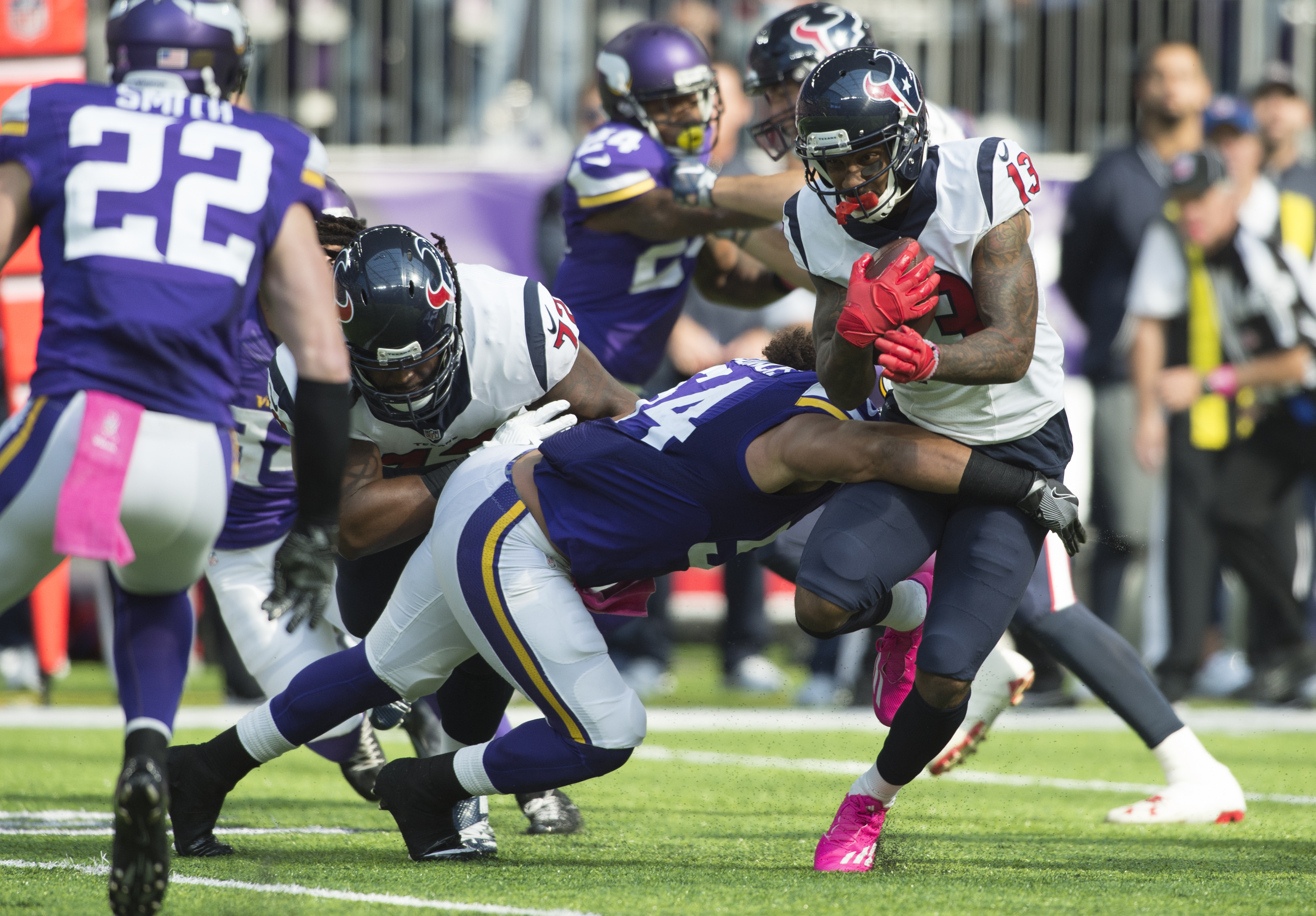 The Vikings' stingy defense will try to shut down Carson Wentz and the Eagles. (Getty Images)