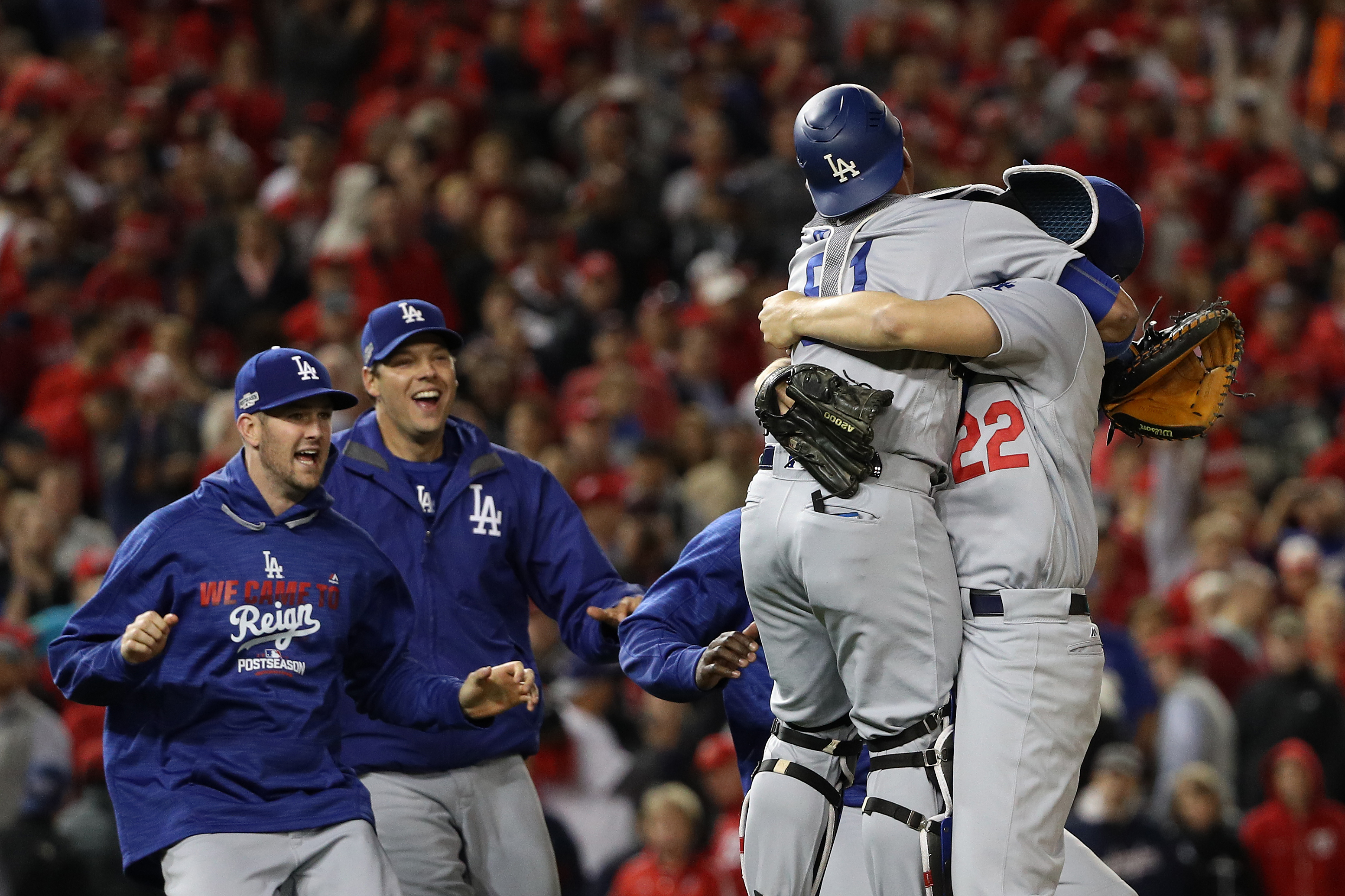 By the time the Dodgers beat the Nationals Thursday night they had played the longest nine-inning postseason game in Major League Baseball history. (Getty Images)