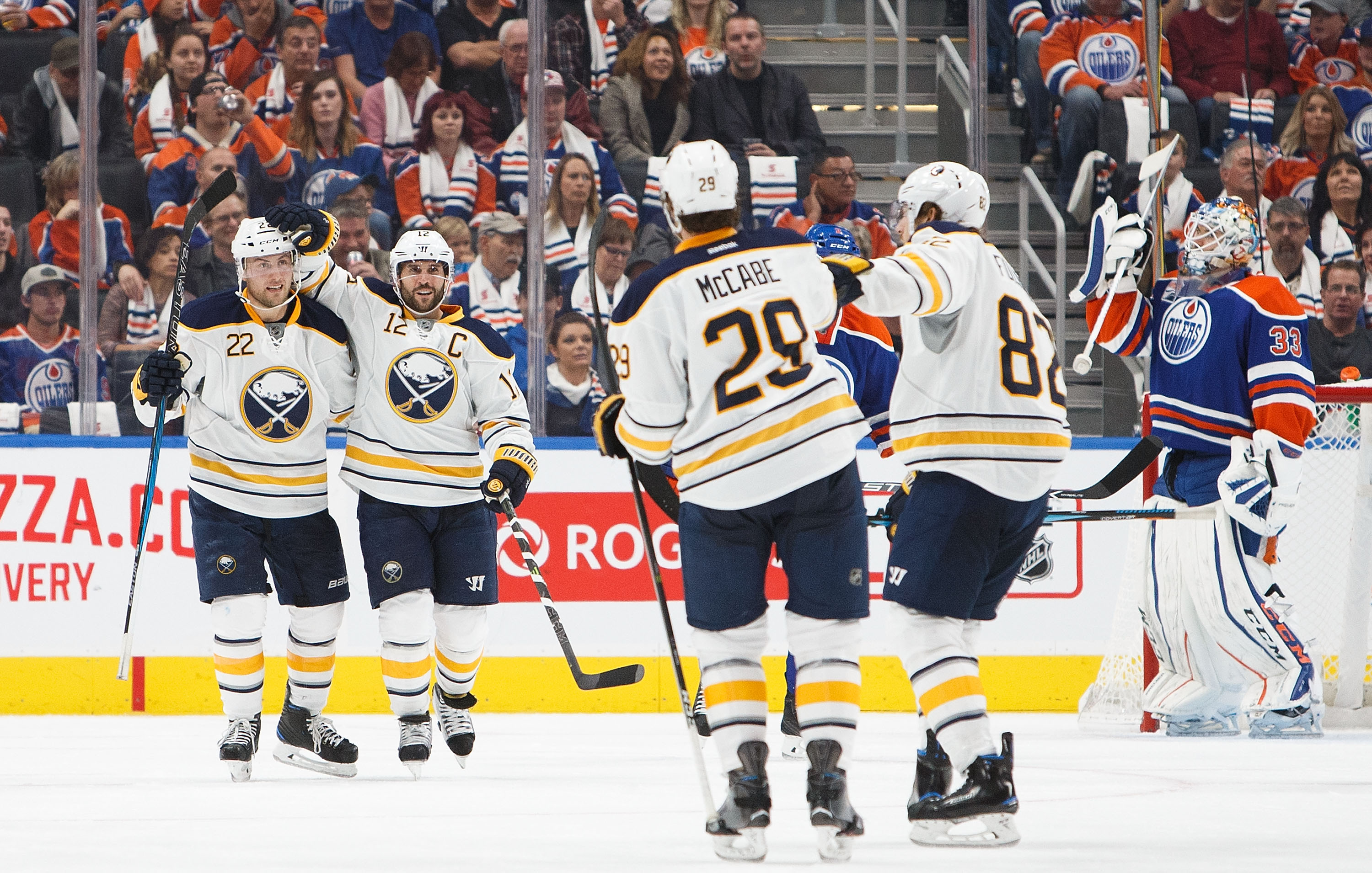 The Buffalo Sabres celebrate one of their six goals against the Edmonton Oilers. (Getty Images)