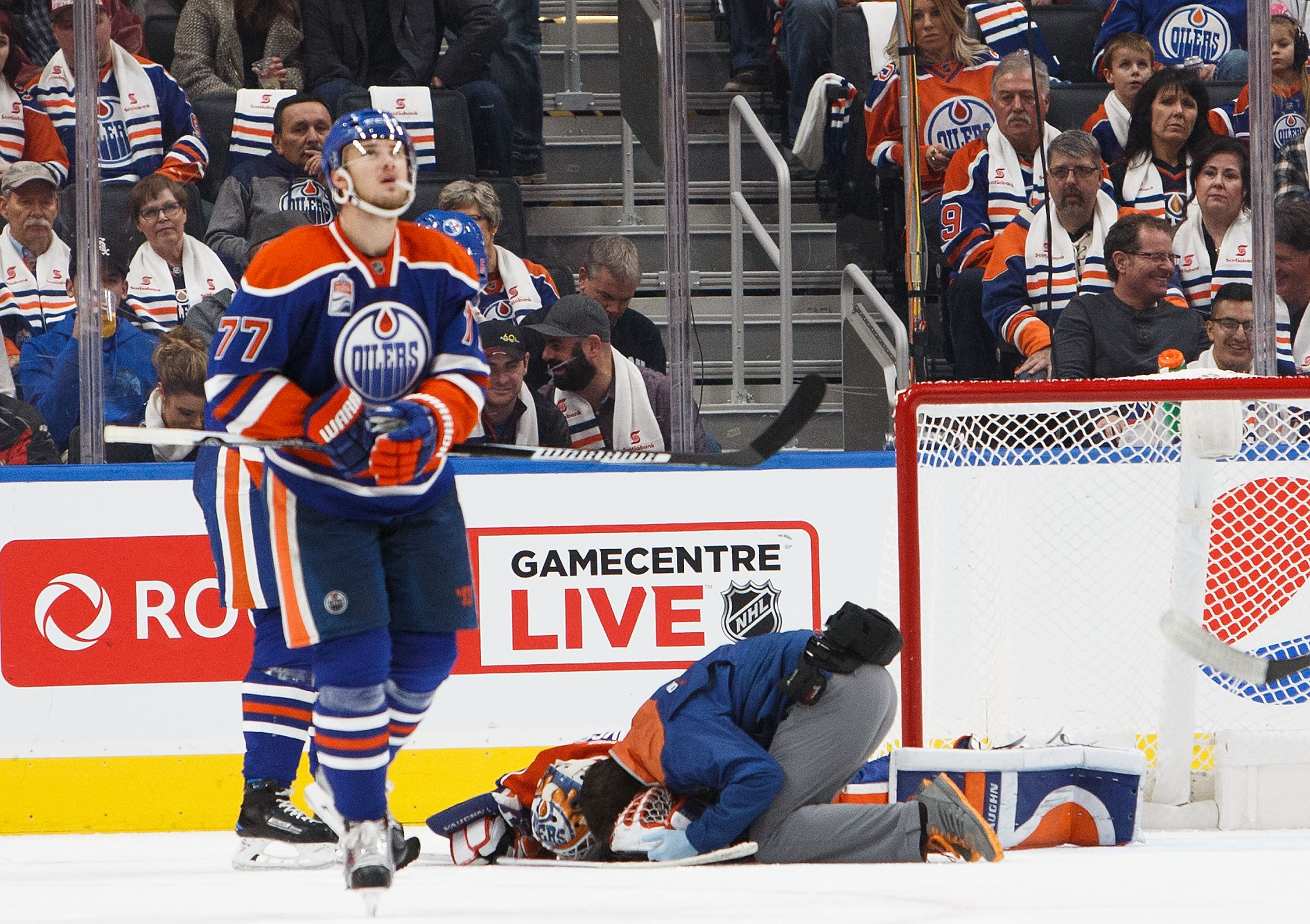 Oilers goalie Jonas Gustavsson stayed in the game after being checked by an athletic trainer, but the NHL removed him. (Photo by Codie McLachlan/Getty Images)